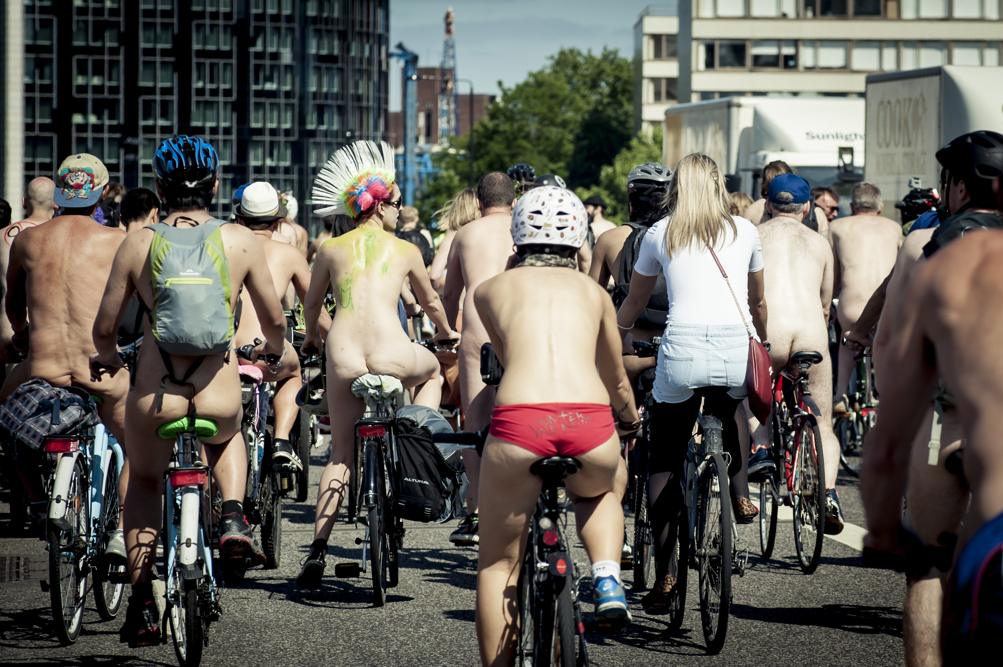World Naked Bike Ride in London on Aug. 6, 2013.