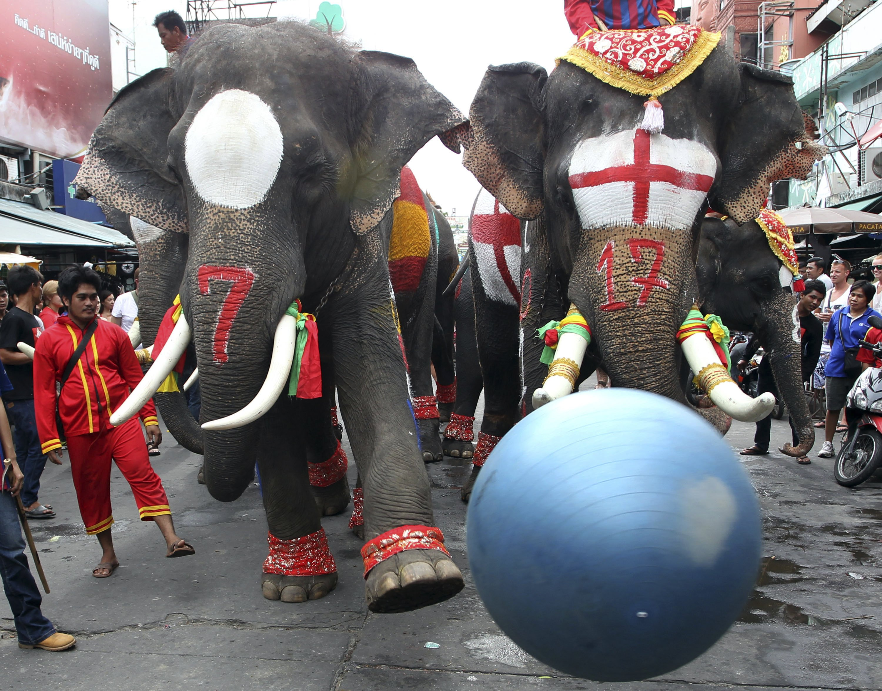 Elephants fight for the ball during an event to celebrate the opening of the World Cup soccer tournament in Brazil at a popular tourist destination in Bangkok, Thailand on Friday, June 13, 2014.