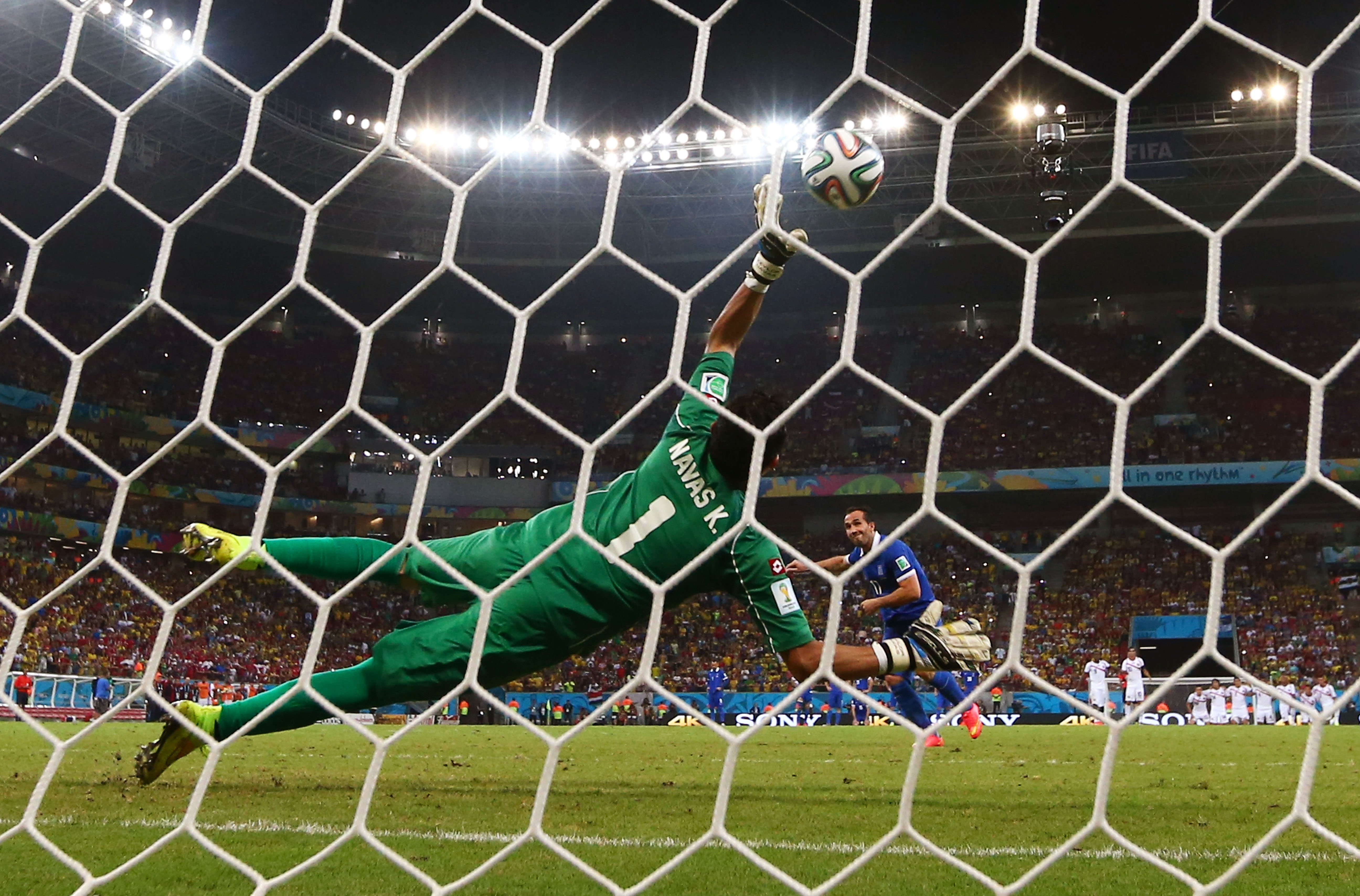 Theofanis Gekas of Greece hits the post during a shootout in the match between Costa Rica and Greece at Arena Pernambuco on June 29, 2014 in Recife, Brazil.