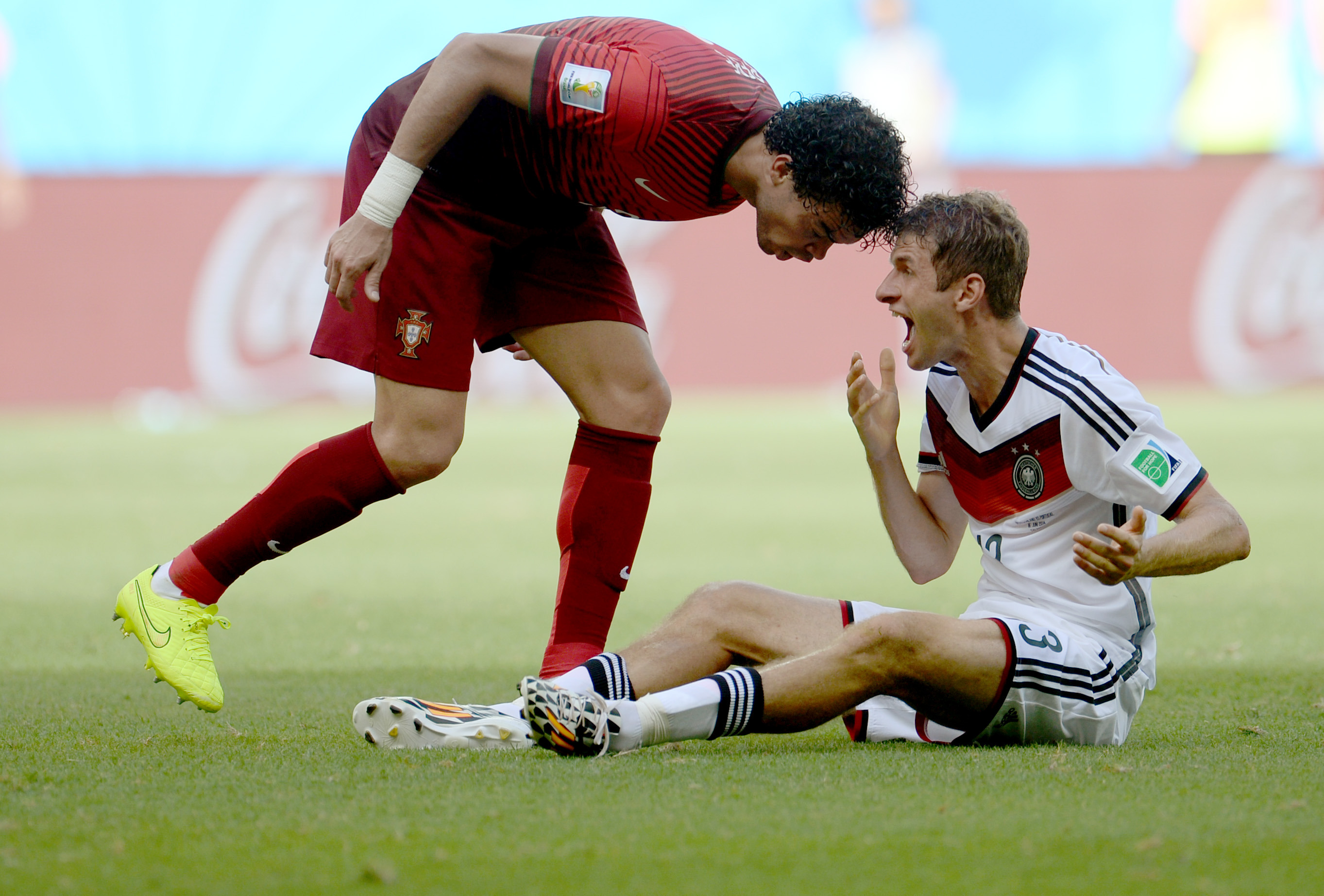 Pepe of Portugal argues with Thomas Müller of Germany and gives him a headbutt during to the FIFA World Cup 2014 group G preliminary round match between Germany and Portugal at the Arena Fonte Nova Stadium in Salvador da Bahia, Brazil on June 16, 2014.
