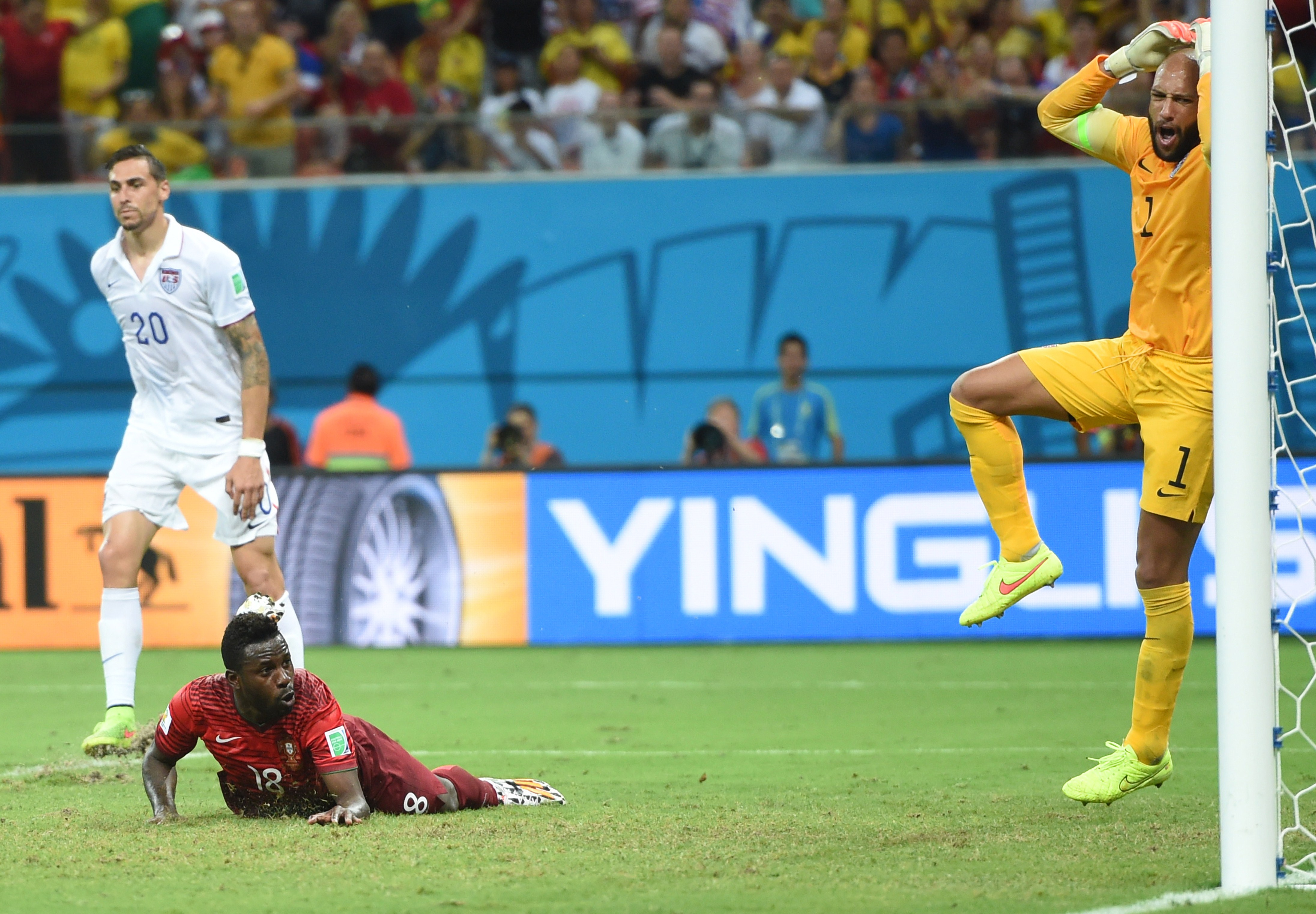 US goalkeeper Tim Howard reacts after a goal from Portugal's forward Silvestre Varela during a Group G match between USA and Portugal at the Amazonia Arena in Manau. Brazil during the 2014 FIFA World Cup on June 22, 2014.