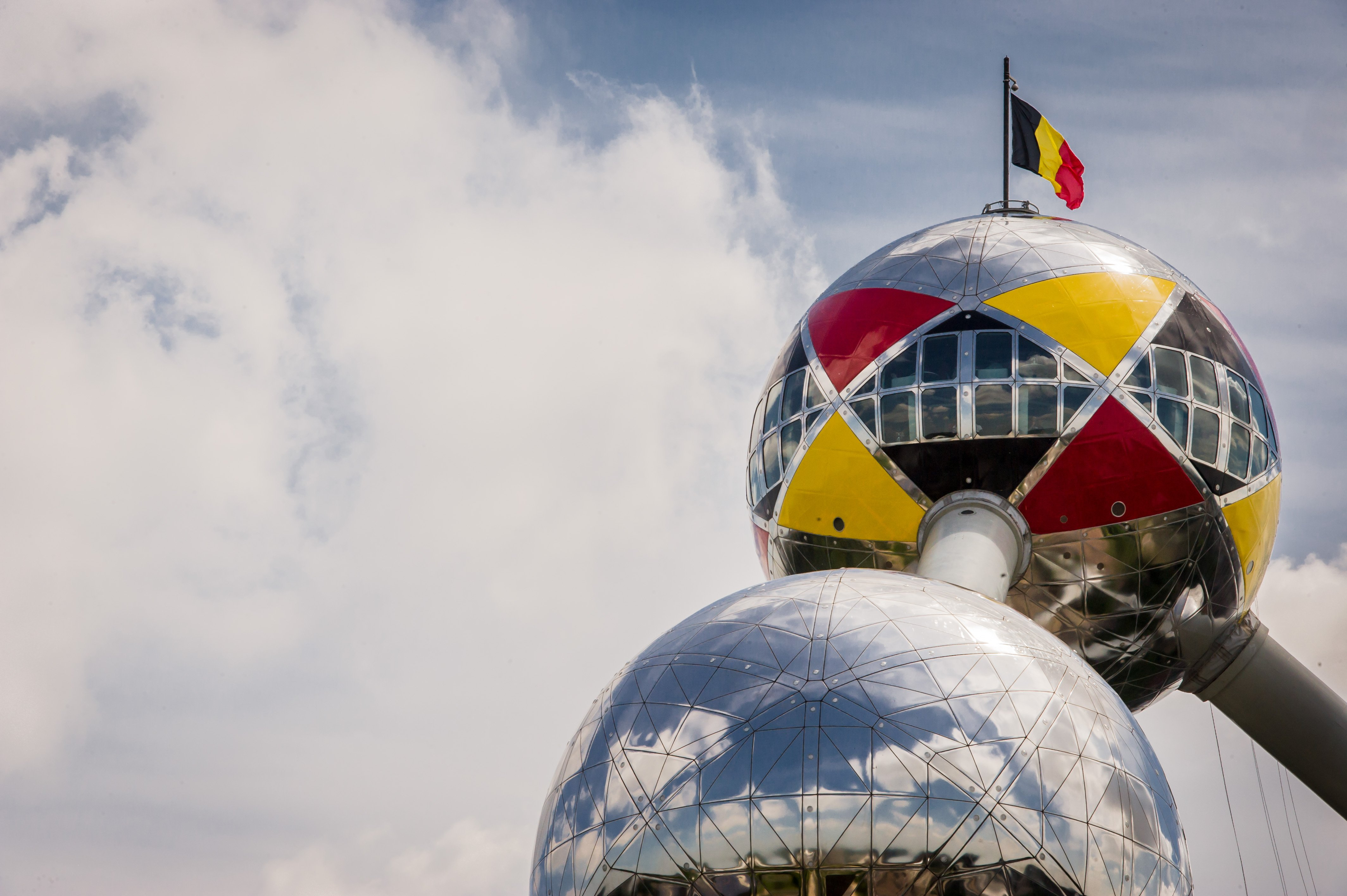 The upper sphere of the Atomium in Brussels is wrapped with the Belgian colors to support the Belgian national soccer team at the World Cup soccer in Brazil on June 13, 2014.
