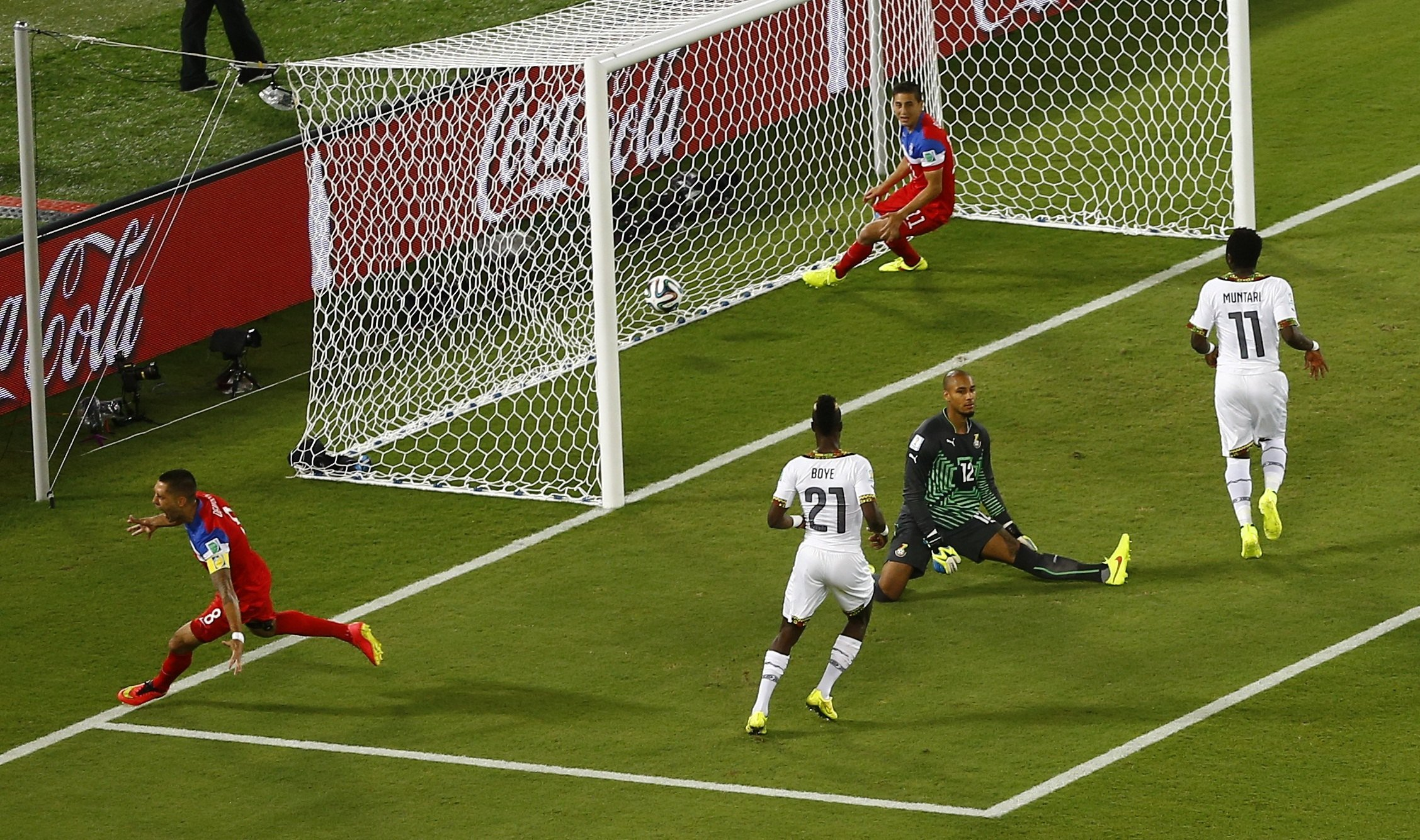Clint Dempsey of the U.S. celebrates after scoring a goal against Ghana during their 2014 World Cup Group G soccer match at the Dunas arena in Natal, Brazil on June 16, 2014.