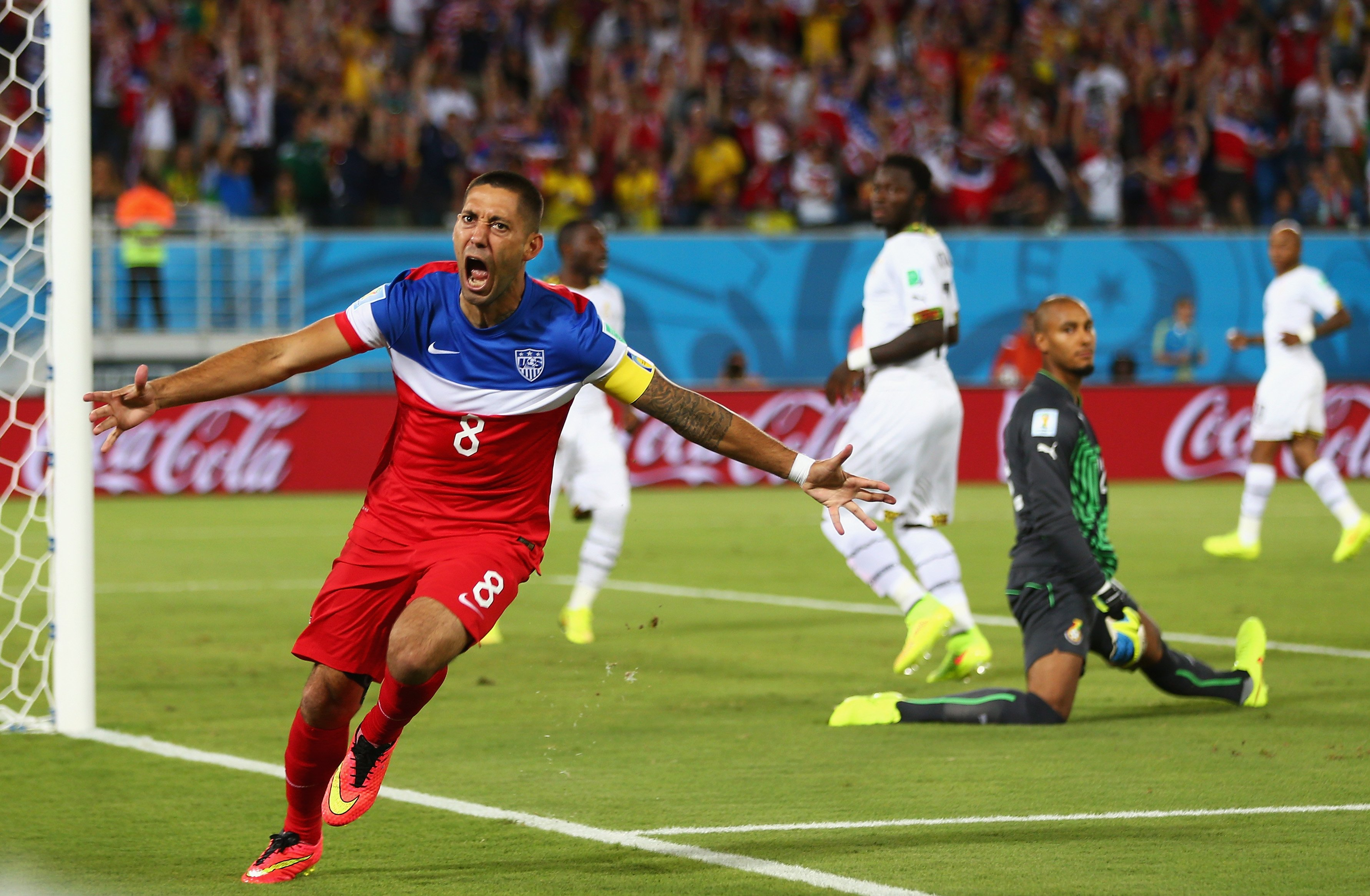Clint Dempsey of the United States reacts after scoring his team's first goal past goalkeeper Adam Kwarasey of Ghana during the 2014 FIFA World Cup Brazil Group G match between Ghana and the United States at Estadio das Dunas on June 16, 2014 in Natal, Brazil.