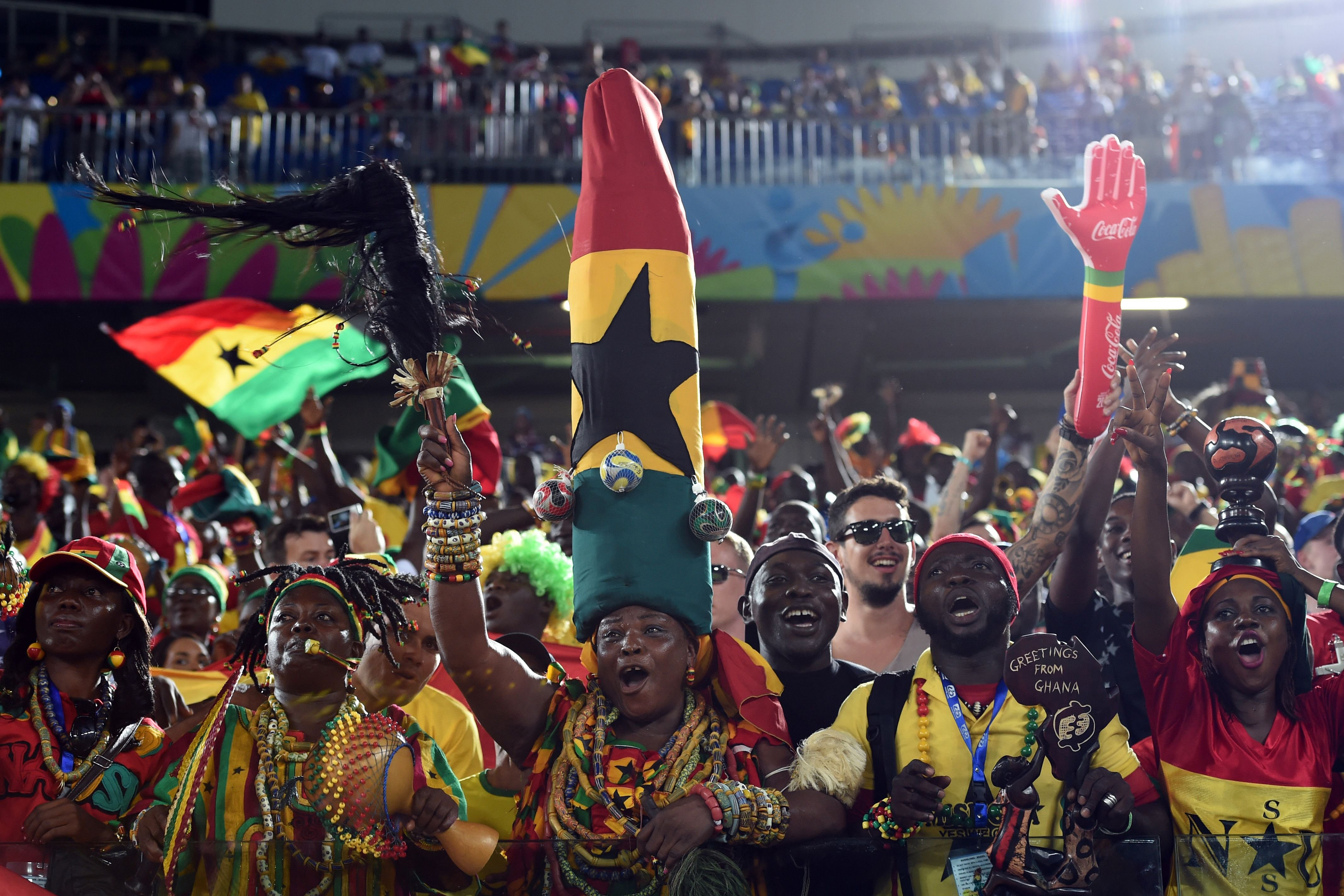 Ghana's fans cheer before the start of a Group G football match between Ghana and US at the Dunas Arena in Natal, Brazil during the 2014 FIFA World Cup on June 16, 2014.