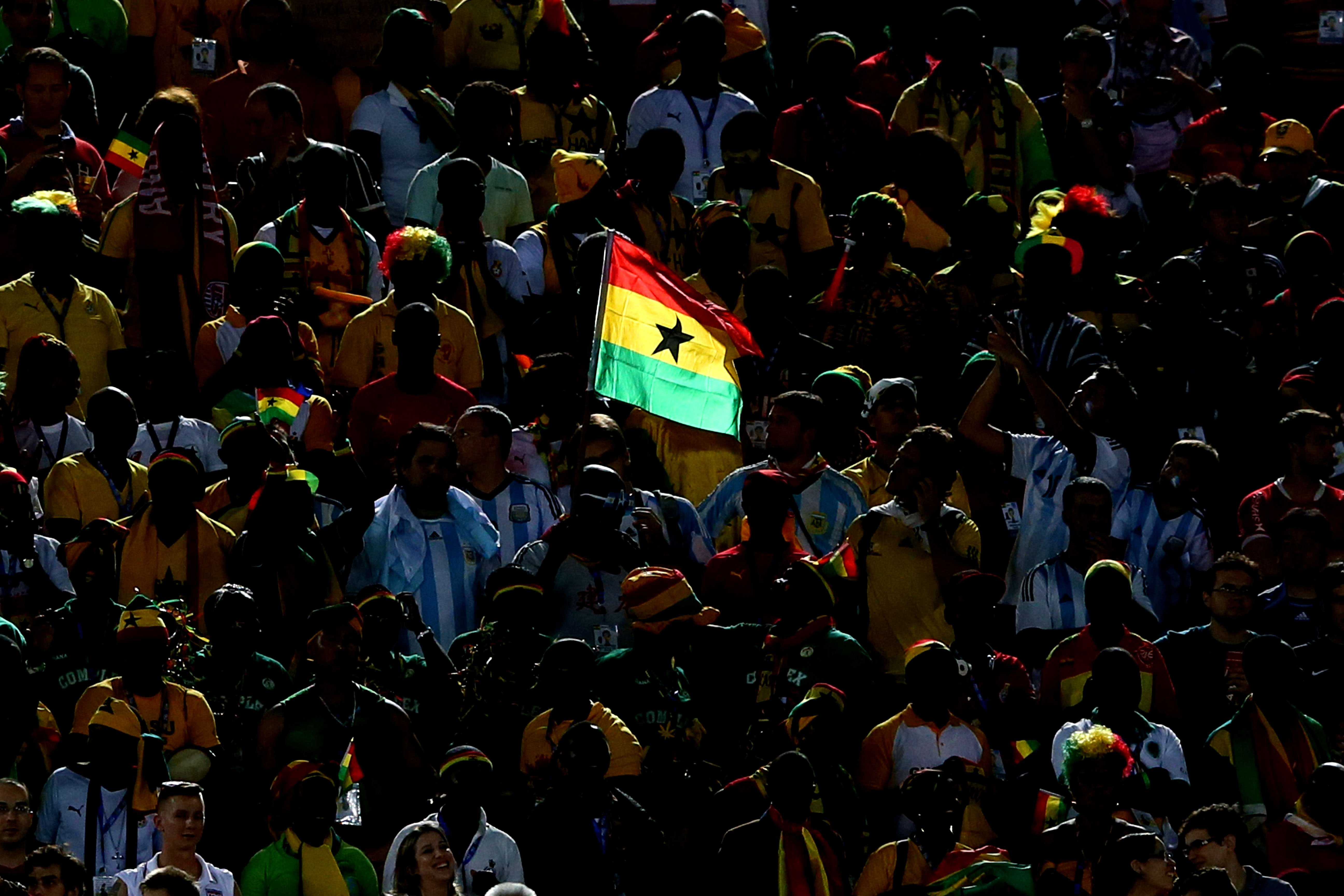 A Ghana flag is seen on the stands during the 2014 FIFA World Cup Brazil Group G match between Ghana and the United States at Estadio das Dunas on June 16, 2014 in Natal, Brazil.