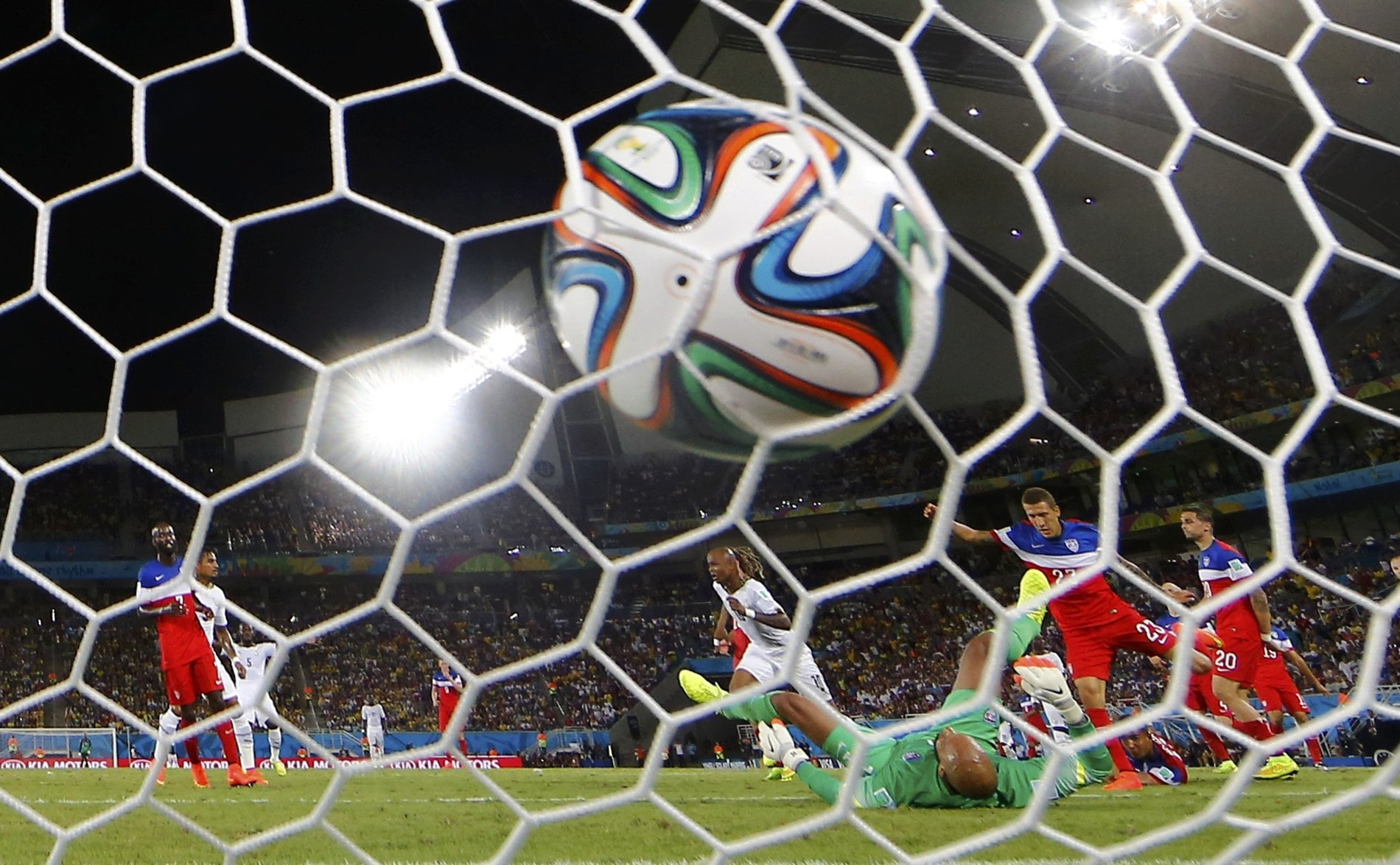 Ghana's Andre Ayew scores a goal during their 2014 World Cup Group G soccer match at the Dunas arena in Natal, Brazil on June 16, 2014.