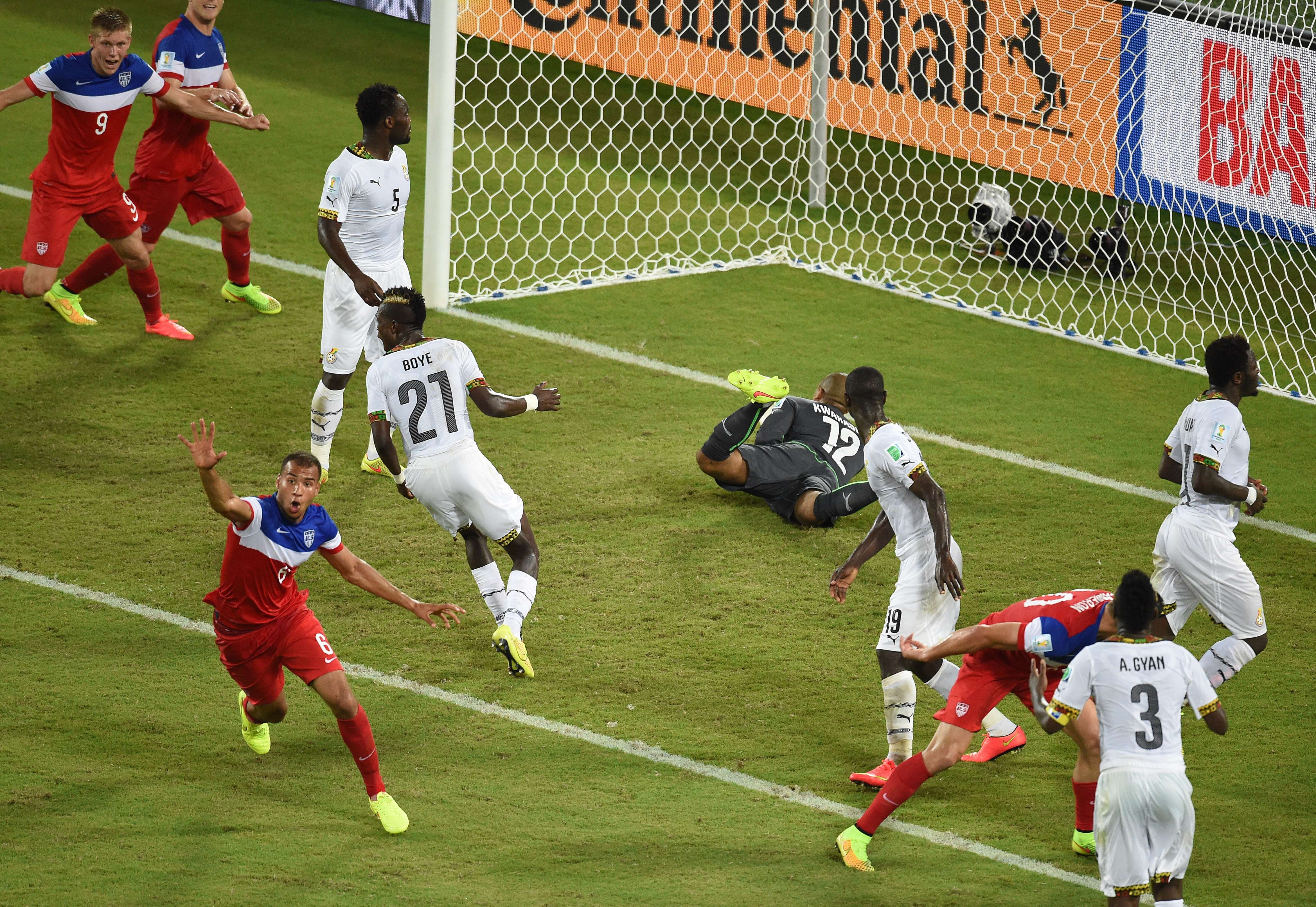 US defender John Brooks celebrates after scoring during a Group G football match between Ghana and US at the Dunas Arena in Natal, Brazil during the 2014 FIFA World Cup on June 16, 2014.