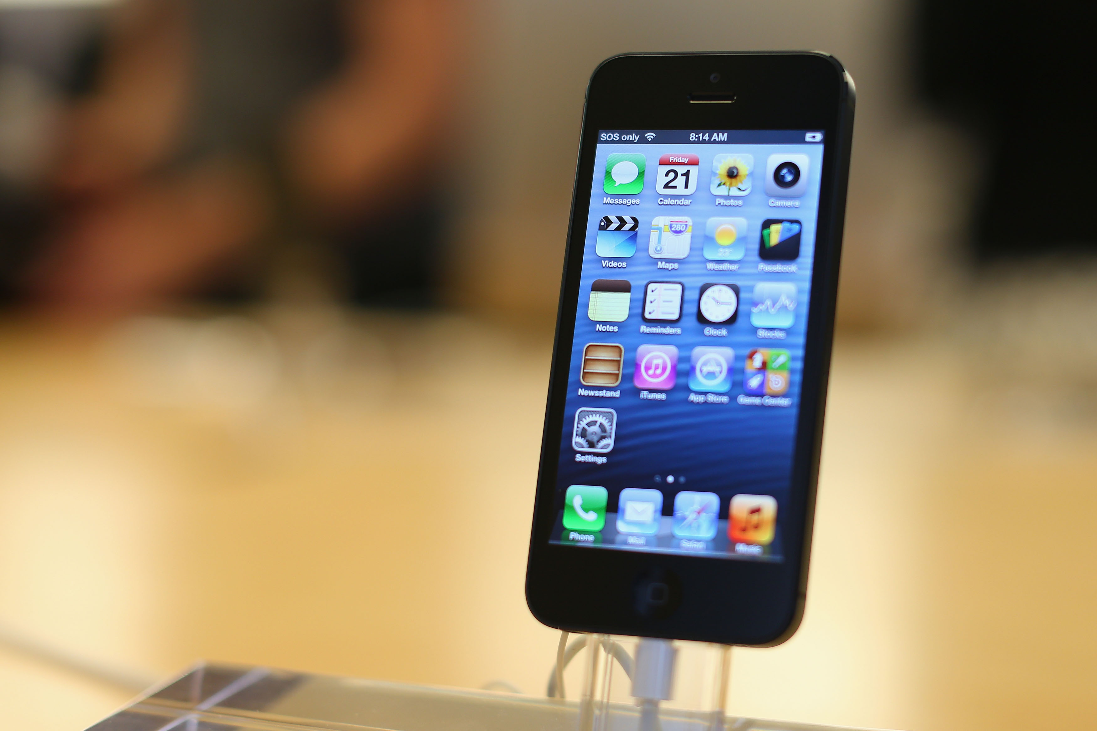 The iPhone 5 smartphone is displayed at the Apple flagship store on George street on September 21, 2012 in Sydney, Australia.