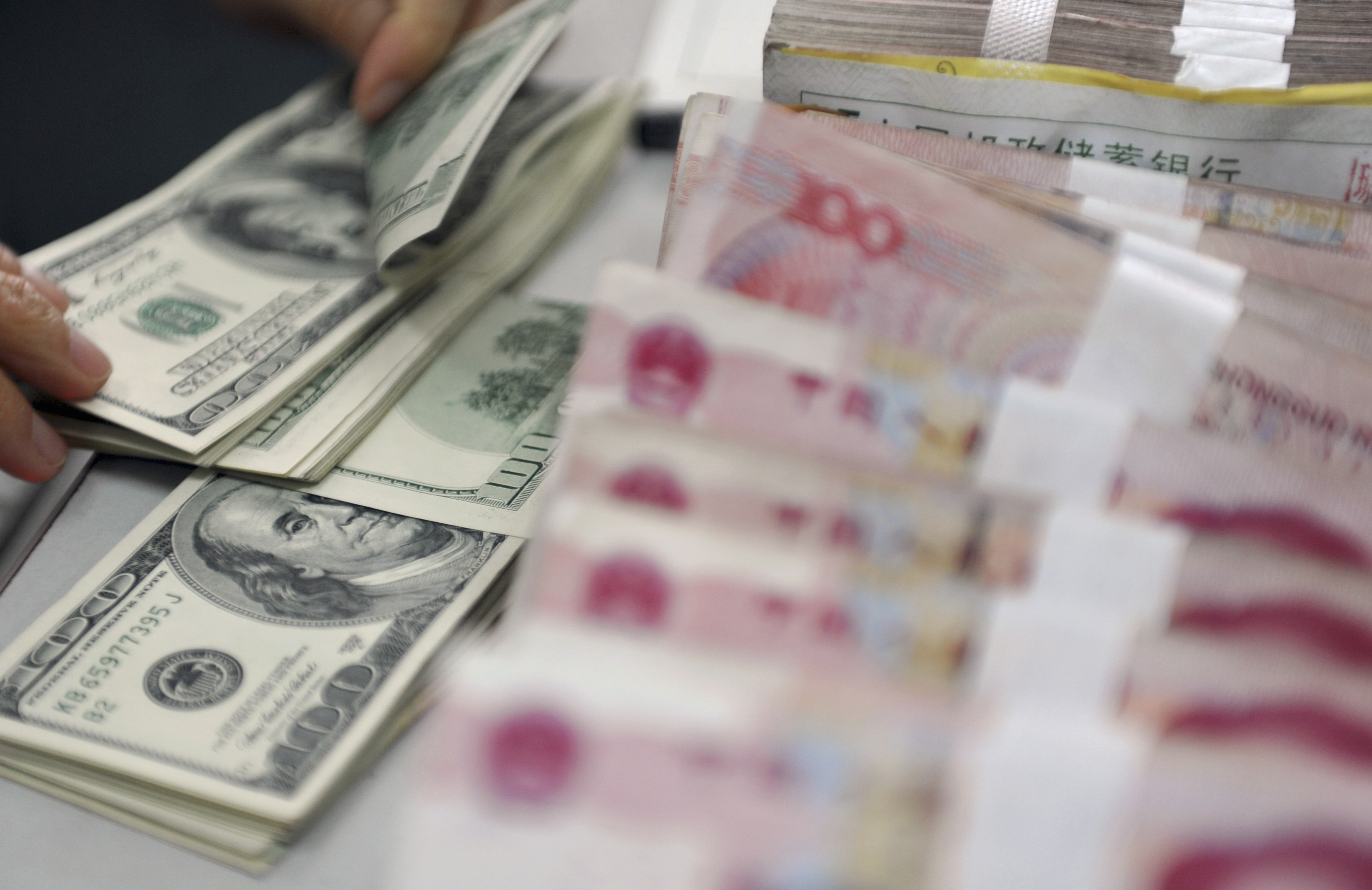 A clerk counts U.S. dollar banknotes after counting Chinese 100 Yuan banknotes at a branch of the Agricultural Bank of China in Qionghai, China's southmost Hainan province, November 12, 2012.