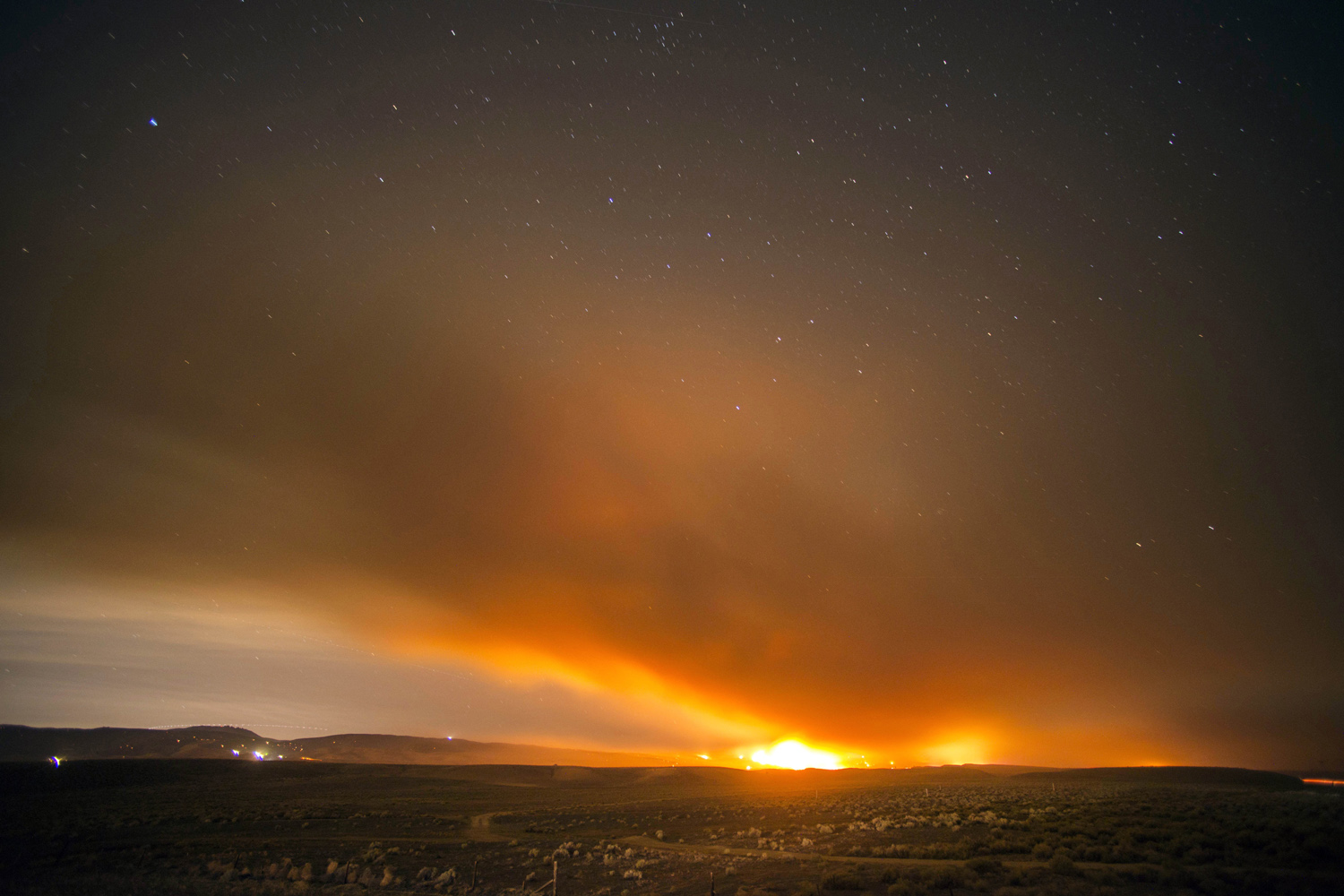 The Powerhouse fire spreads at night near Lancaster, Calif., June 2, 2013.