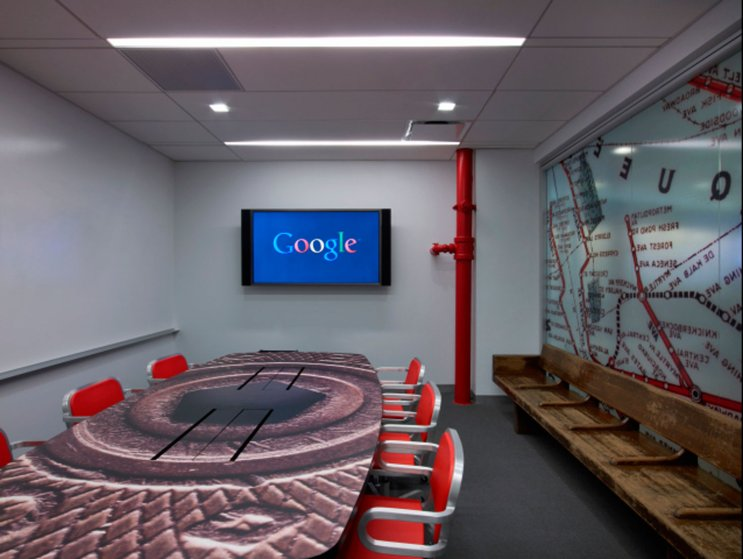 A subway themed conference room where Googlers can video conference with other Google offices around the world.