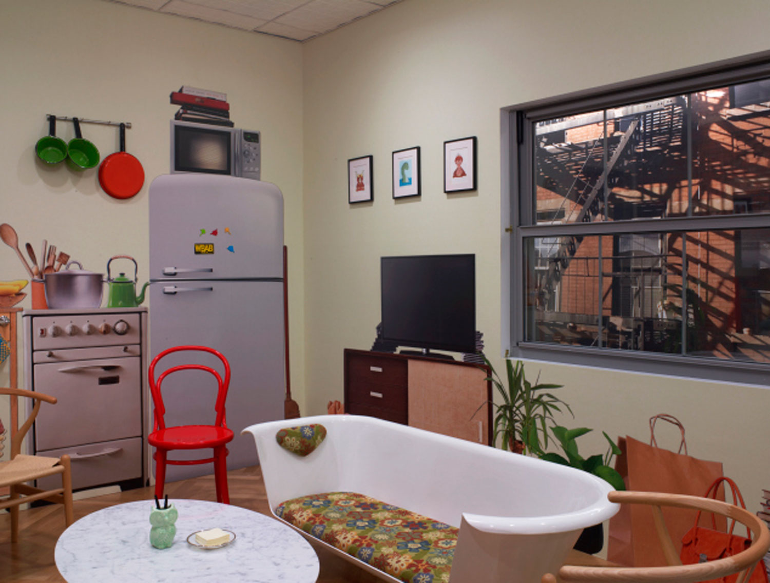 "Google's apartment themed conference room for those looking to ""work from home"" at work."