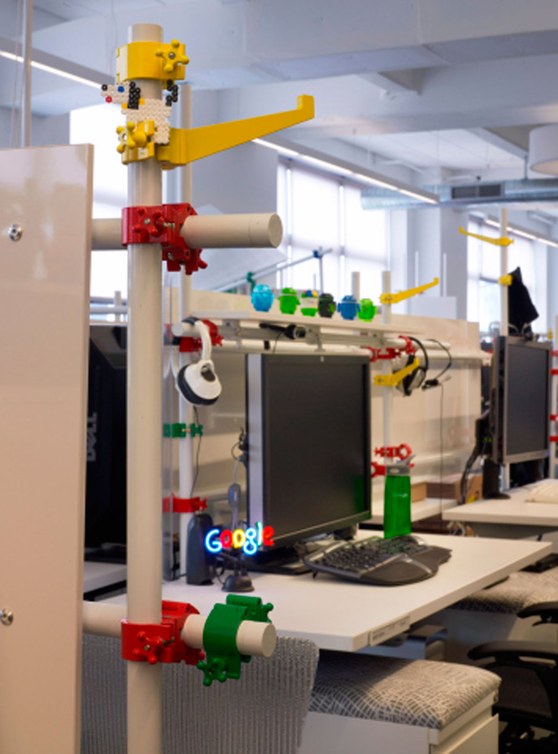 Google's build-your-own desks that allow employees to completely customize their workspaces.