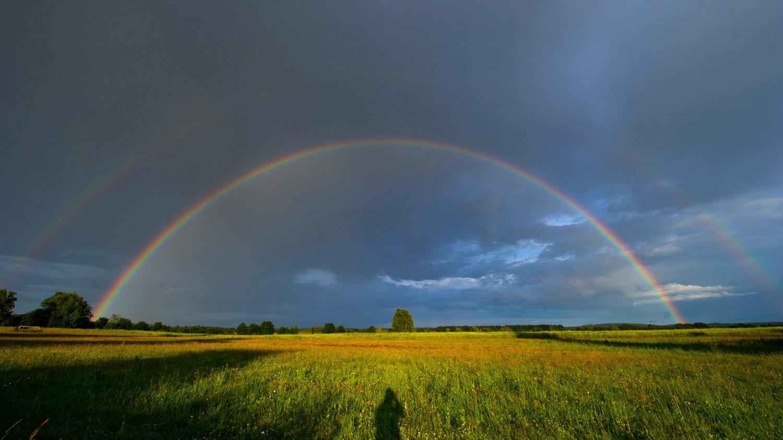 A rainbow in the sky over the Baltic Sea island of Usedom, near Trassenheide, Germany, July 1, 2014.
