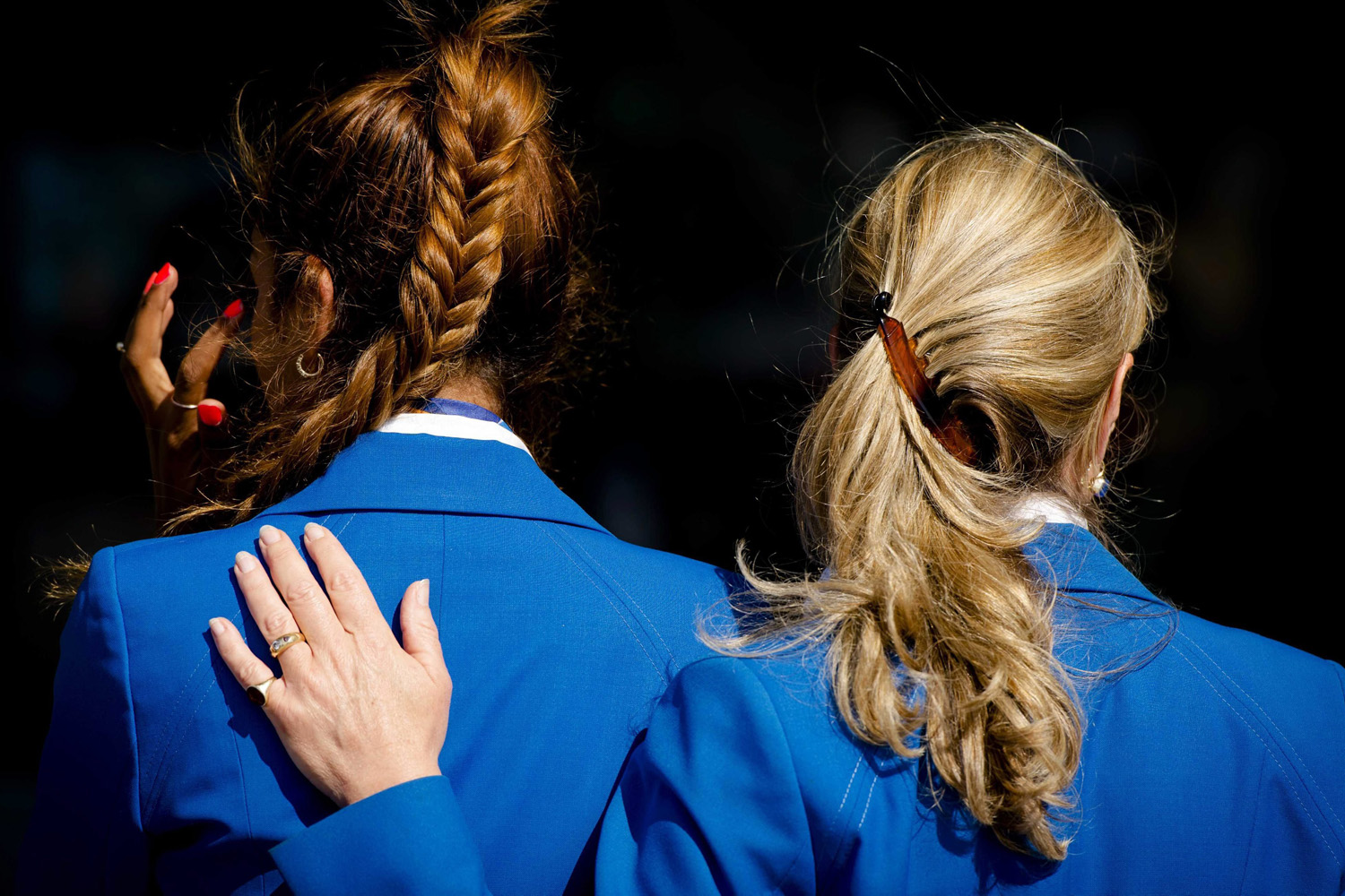 Jul. 23, 2014. Two air hostesses at Schiphol Airport, near Amsterdam, The Netherlands.