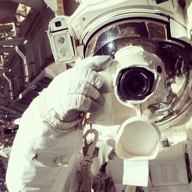 Jul. 17, 2013. Astro Selfie from Space - NASA astronaut Chris Cassidy, Expedition 36 flight engineer, uses a digital still camera during a session of extravehicular activity (EVA) as work continues on the International Space Station.