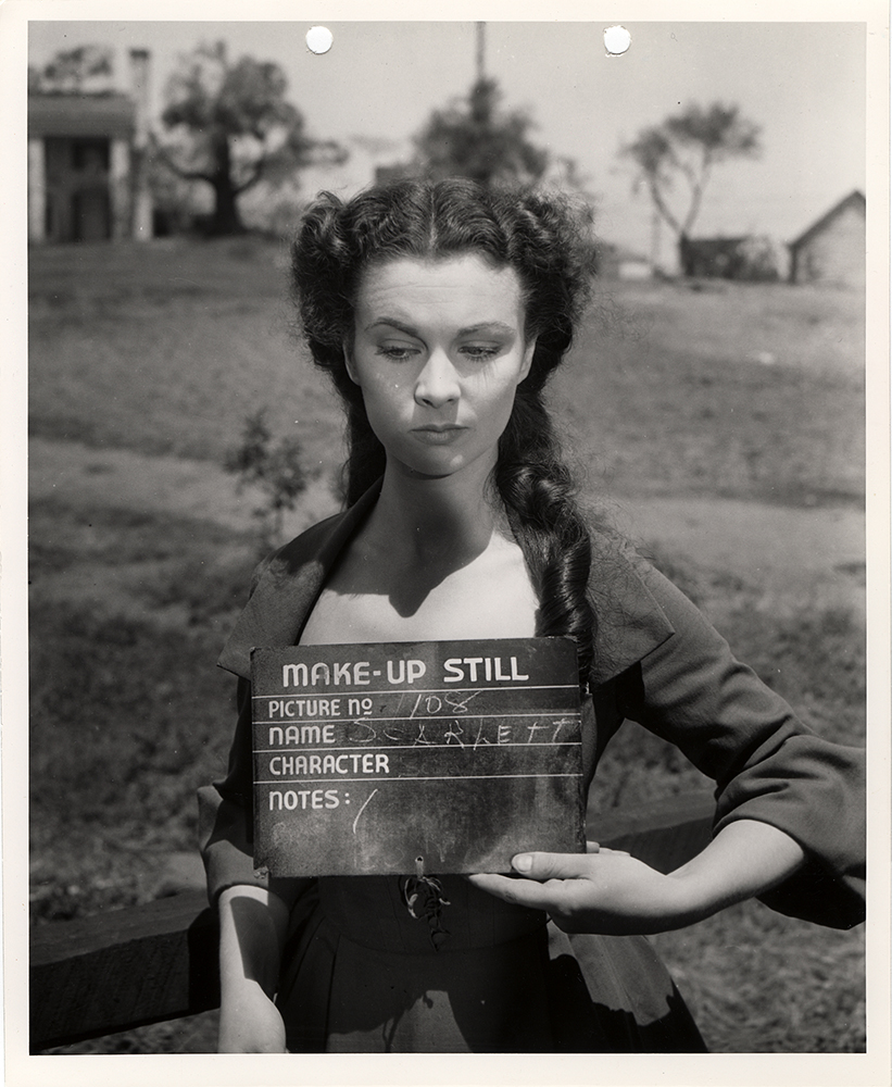 Make up still of actress Vivien Leigh, in the role of Scarlett O'Hara, on the set of Gone With The Wind, 1939.