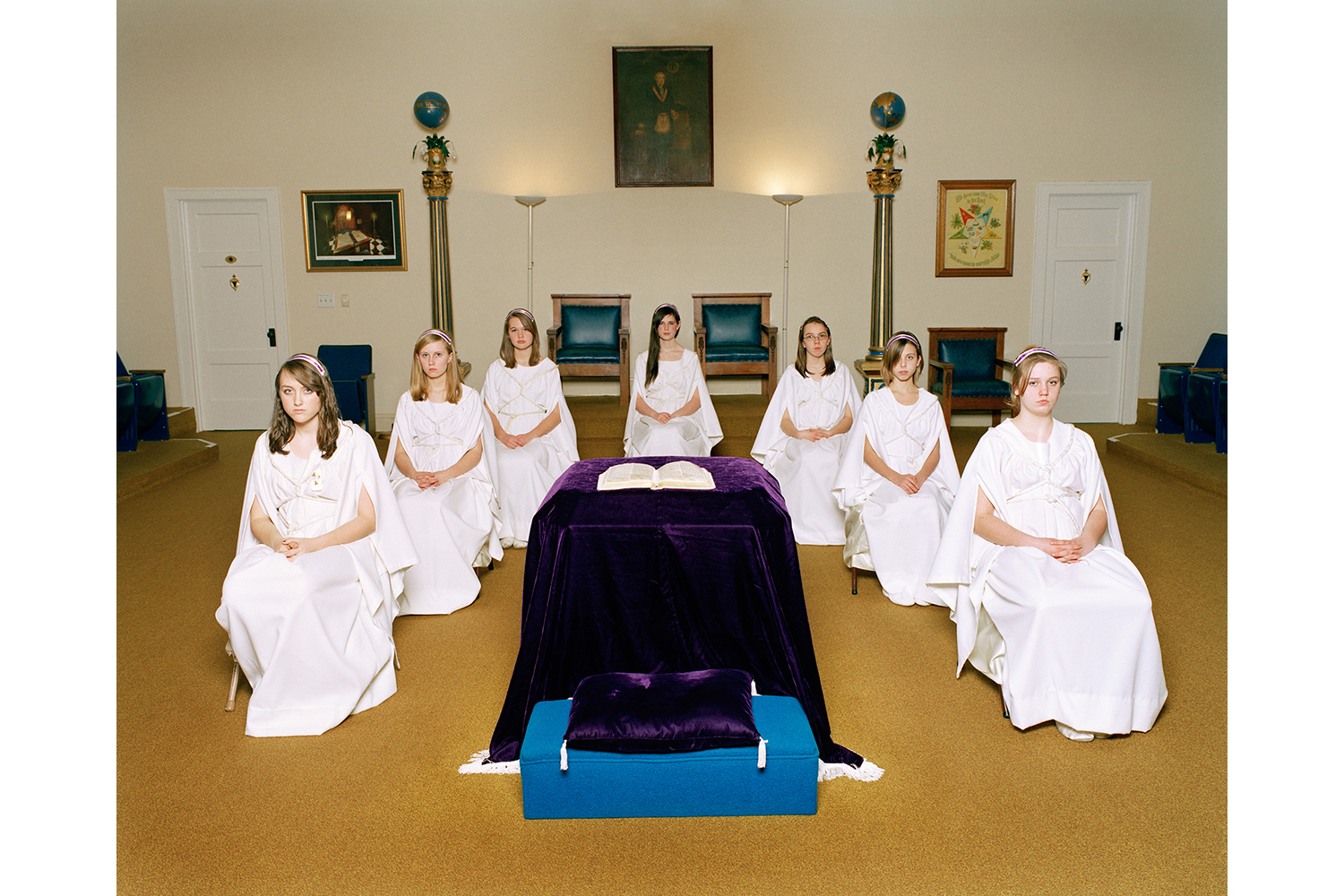 The Messengers                                                              Young women with the title of Messenger sit in the semi-circular arrangement unique to their order. Other groups in the Masonic Family use different seating arrangements determined by the actions taking place in the lodge during their meetings. Being an active Messenger is a major part of community development and prepares the girls for leadership roles in the order.