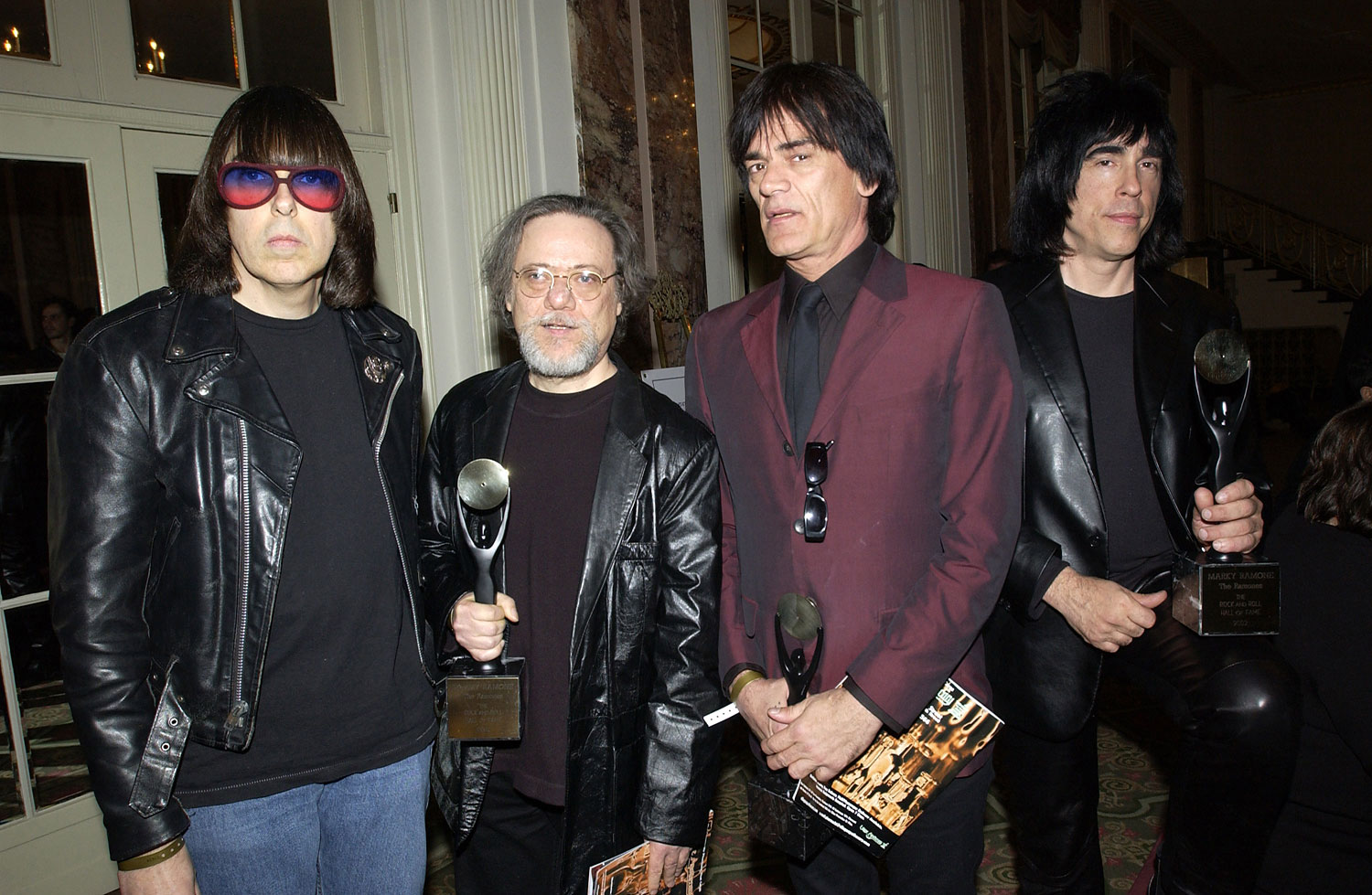 From left to right, Johnny Ramone, Tommy Ramone, Dee Dee Ramone and Marky Ramone following The Ramones induction to the Rock Hall of Fame, March 18, 2002.