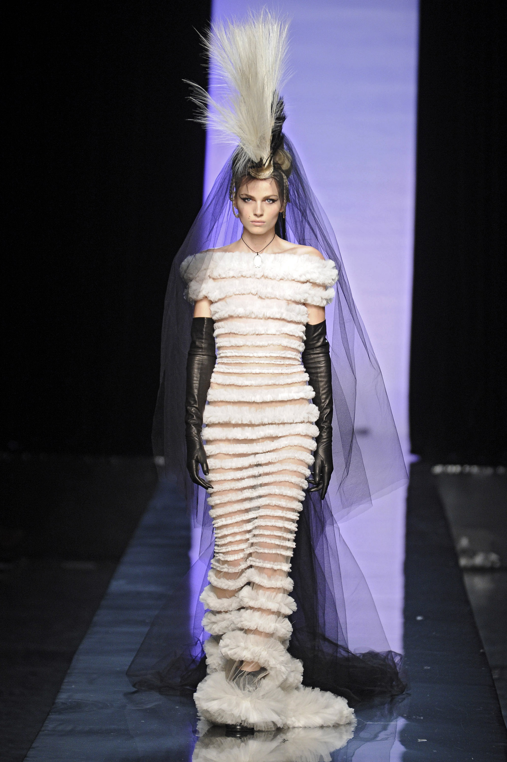 Andrej Pejic walks the runway at the Jean Paul Gaultier fashion show during Paris Haute Couture Fashion Week on January 26, 2011 in Paris, France.