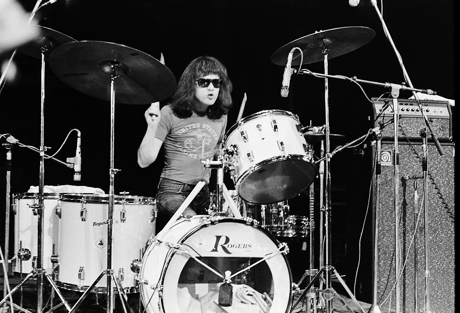 Tommy Ramone performs on stage with The Ramones at The Roundhouse in London, July 4th, 1976.