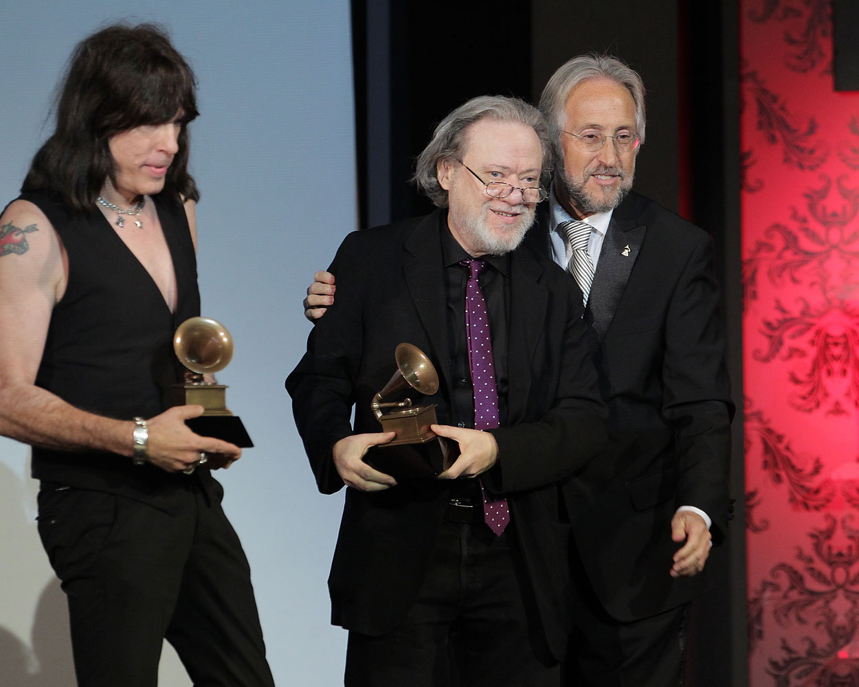 From left to right, Marky Ramone, Tommy Ramone and Neil Portnow attend the Recording Academy Special Merit Awards Ceremony at The Wilshire Ebell Theatre on Feb. 12, 2011 in Los Angeles.