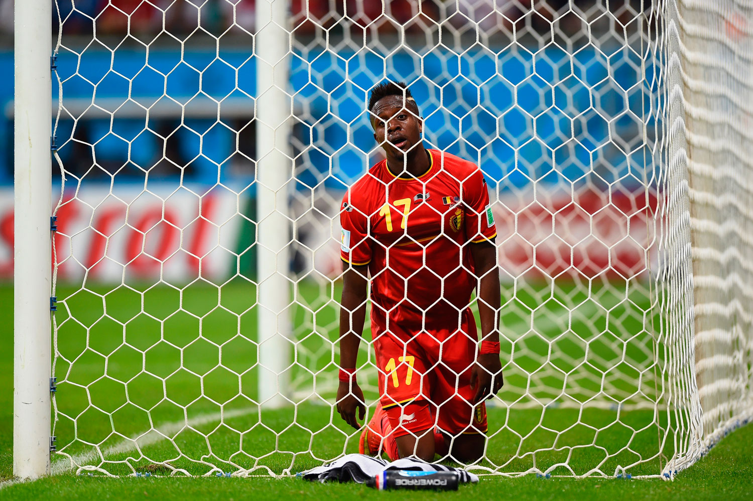 Divock Origi of Belgium reacts after a missed chance during the match between Belgium and the United States at Arena Fonte Nova on July 1, 2014 in Salvador, Brazil.