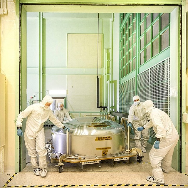 Dec. 12, 2013. This is the James Webb Space Telescope's ETU (engineering test unit) primary mirror segment returning to the cleanroom at NASA Goddard after undergoing some tests at our new Calibration, Integration, and Alignment Facility (CIAF).