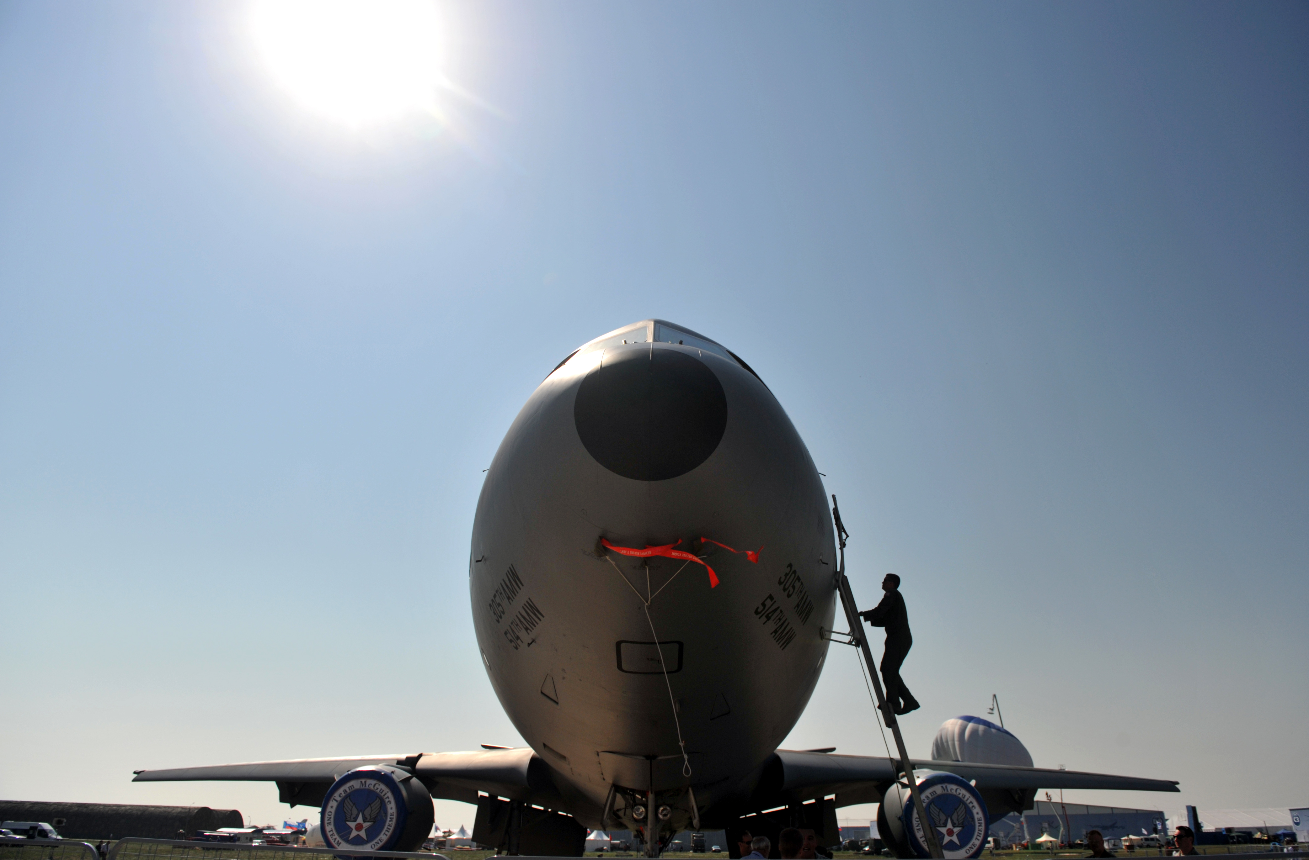 U.S. Air Force C-17 cargo planes, like this one at a Russian air base in 2011, are protected by onboard jammers, a capability not on most civilian airliners.