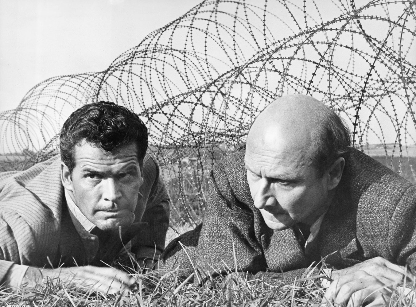 Donald Pleasance and Garner in a scene from The Great Escape, 1963.