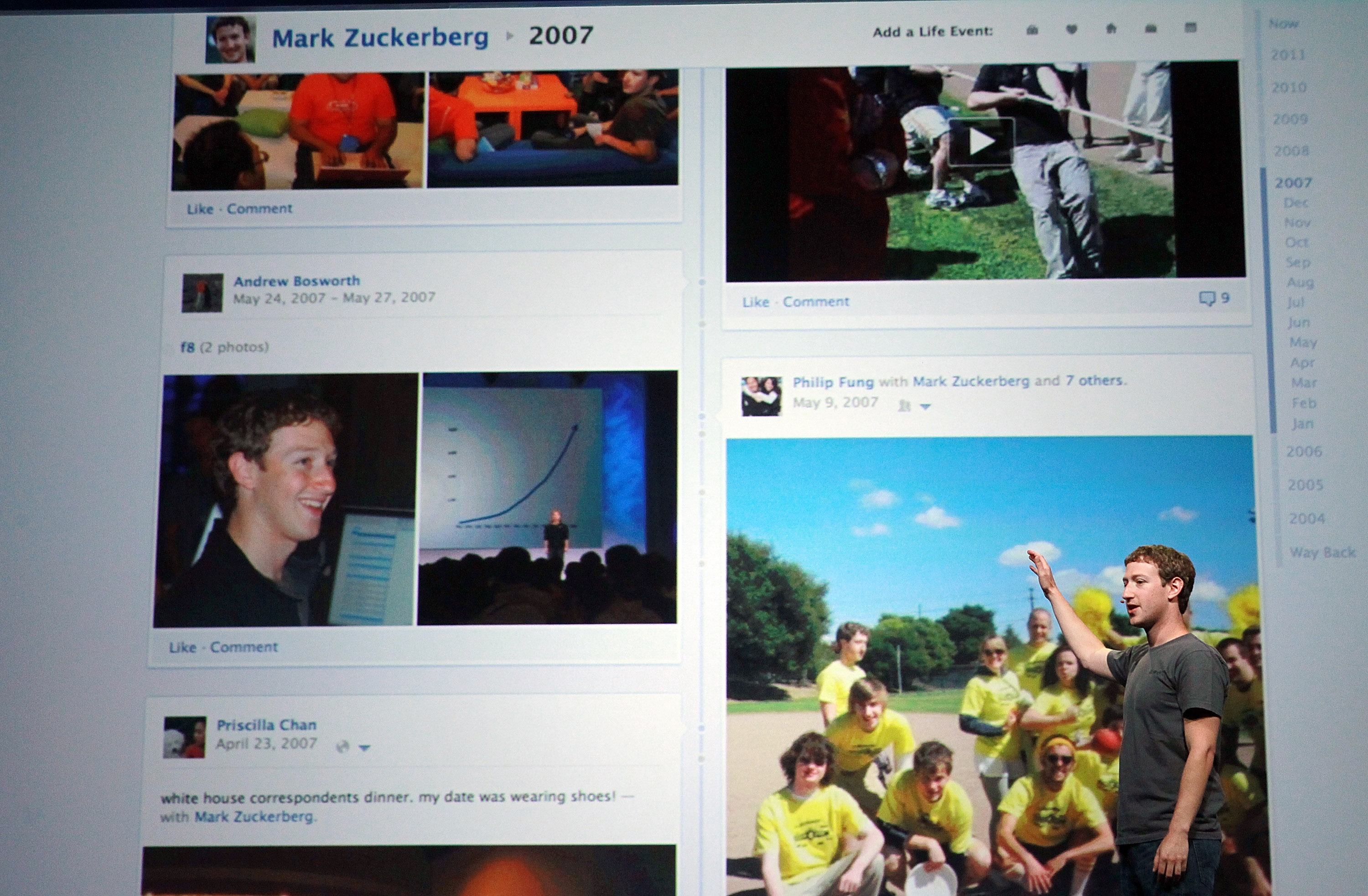 Facebook CEO Mark Zuckerberg shows off the new Timeline as he delivers a keynote address during the Facebook f8 conference on September 22, 2011 in San Francisco, California.