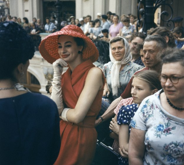 Fashion models visit the GUM department store in Moscow while in the Soviet Union for an officially sanctioned Christian Dior fashion show, 1959.