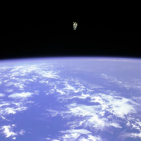 "American astronaut Bruce McCandless photographed during the first ""untethered space walk"" in human history, Feb. 7, 1984."