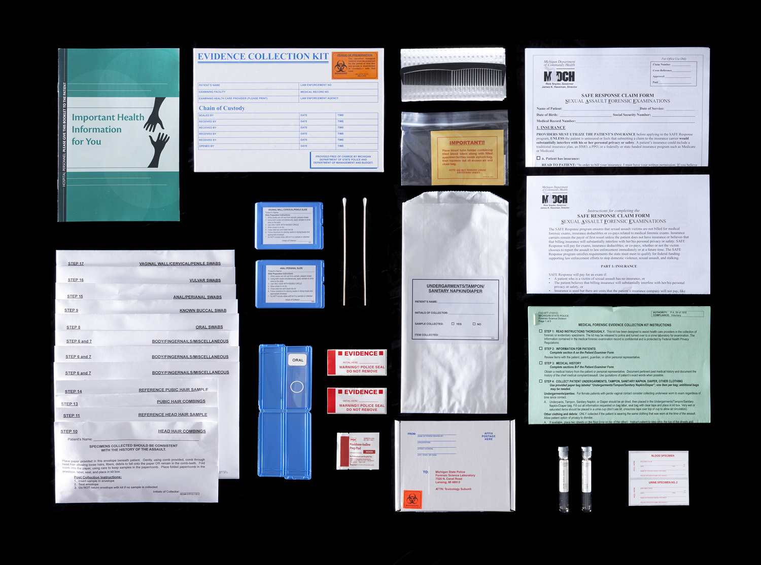 In a sexual-assault case, forensics technicians collect evidence from the most intimate parts of a survivor's body. Assembling a rape kit involves a head-to-toe exam and includes swabs of any place the perpetrator may have left DNA in the form of semen, saliva, hair or skin cells. The victim is also extensively photographed and interviewed. The entire process can take up to four hours.