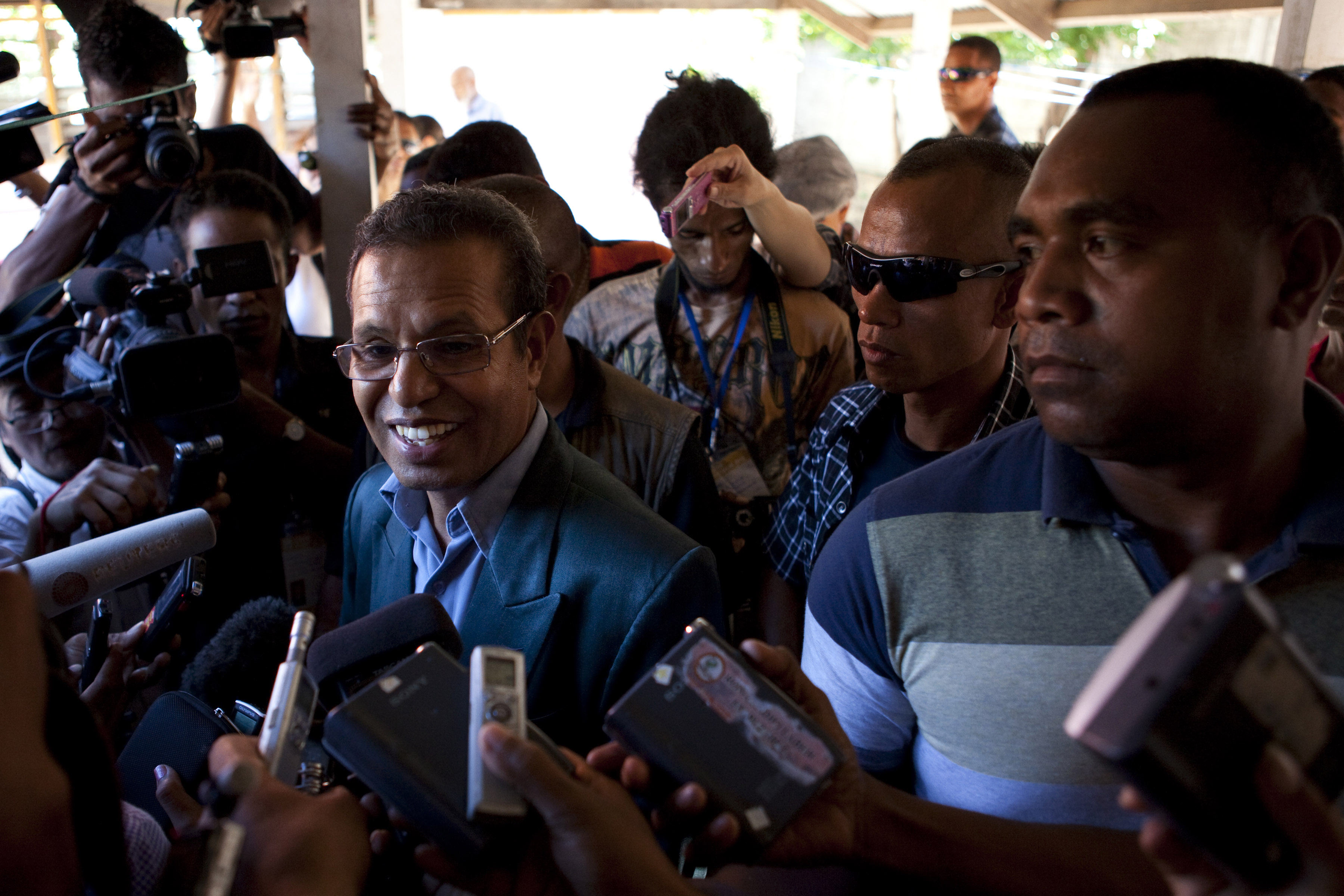 Taur Matan Ruak speaks to the press during the second round of the Presidential elections on April 16, 2012 in Dili, East Timor.