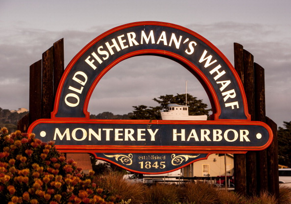 The entrance to Old Fisherman's Wharf at sunrise in Monterey, Calif., on April 6, 2013