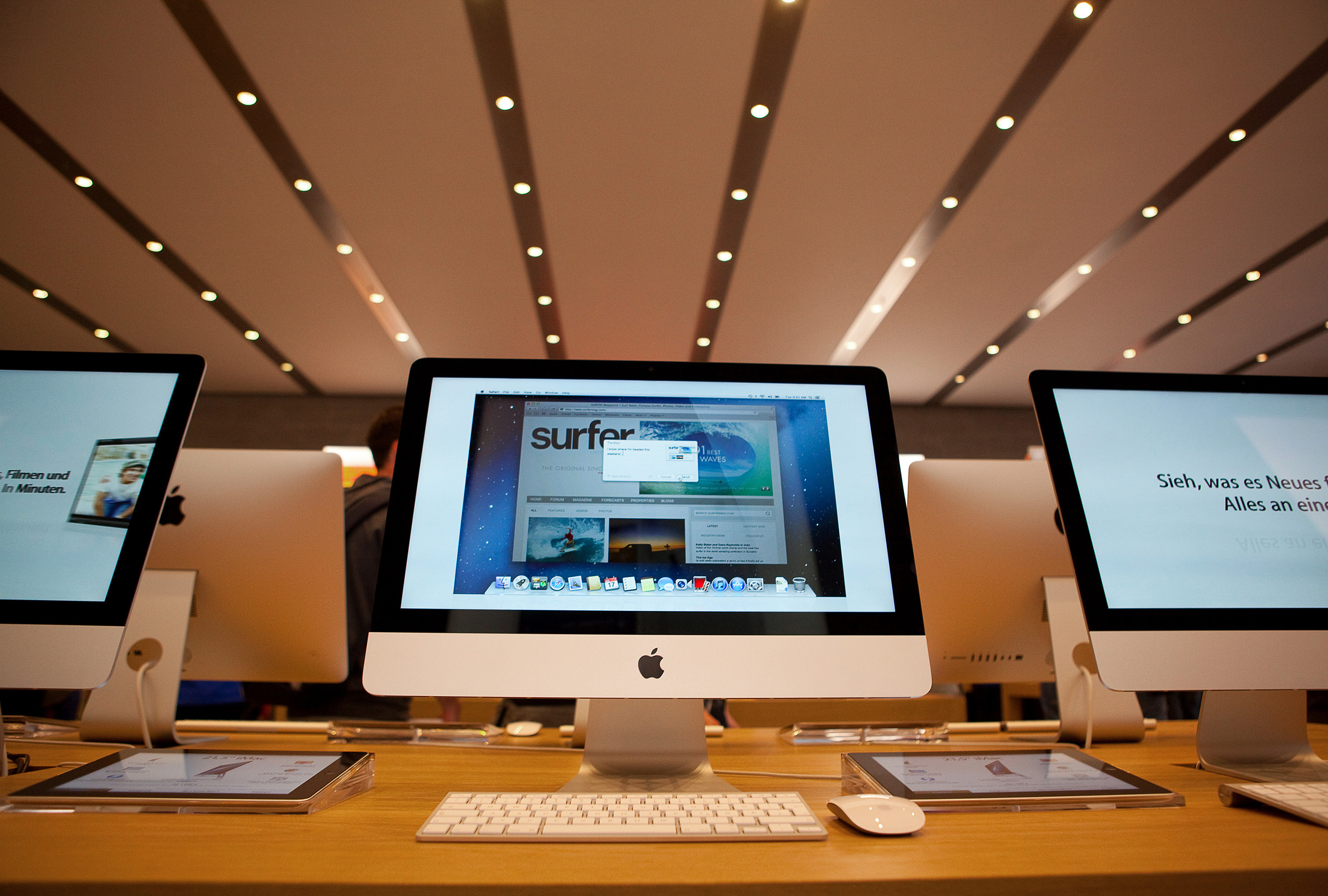 Apple Inc. iMac computers are seen on display at the new Apple Inc. store located on Kurfurstendamm Street in Berlin, Germany, on Friday, May 3, 2013.