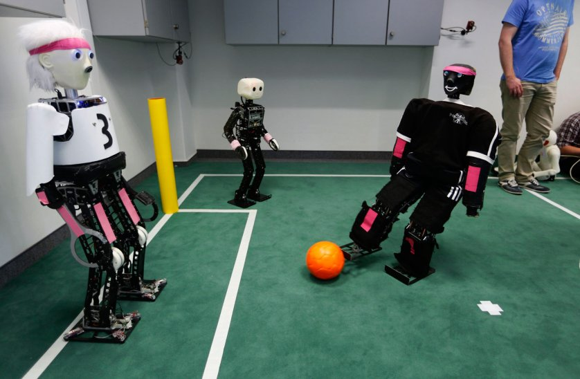 Humanoid robots are seen during a photo opportunity at the Institute for Computer Science at the University of Bonn in Bonn July 3, 2014.