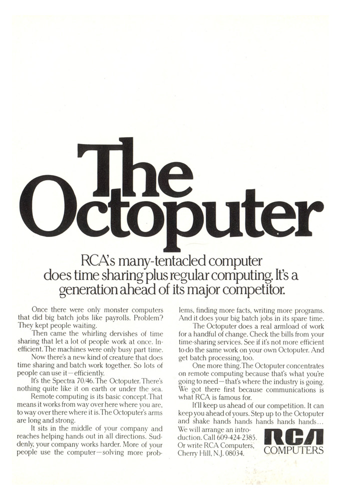 The Octoputer advertisement by RCA that appeared in the July 25, 1969 edition of Time Magazine.
