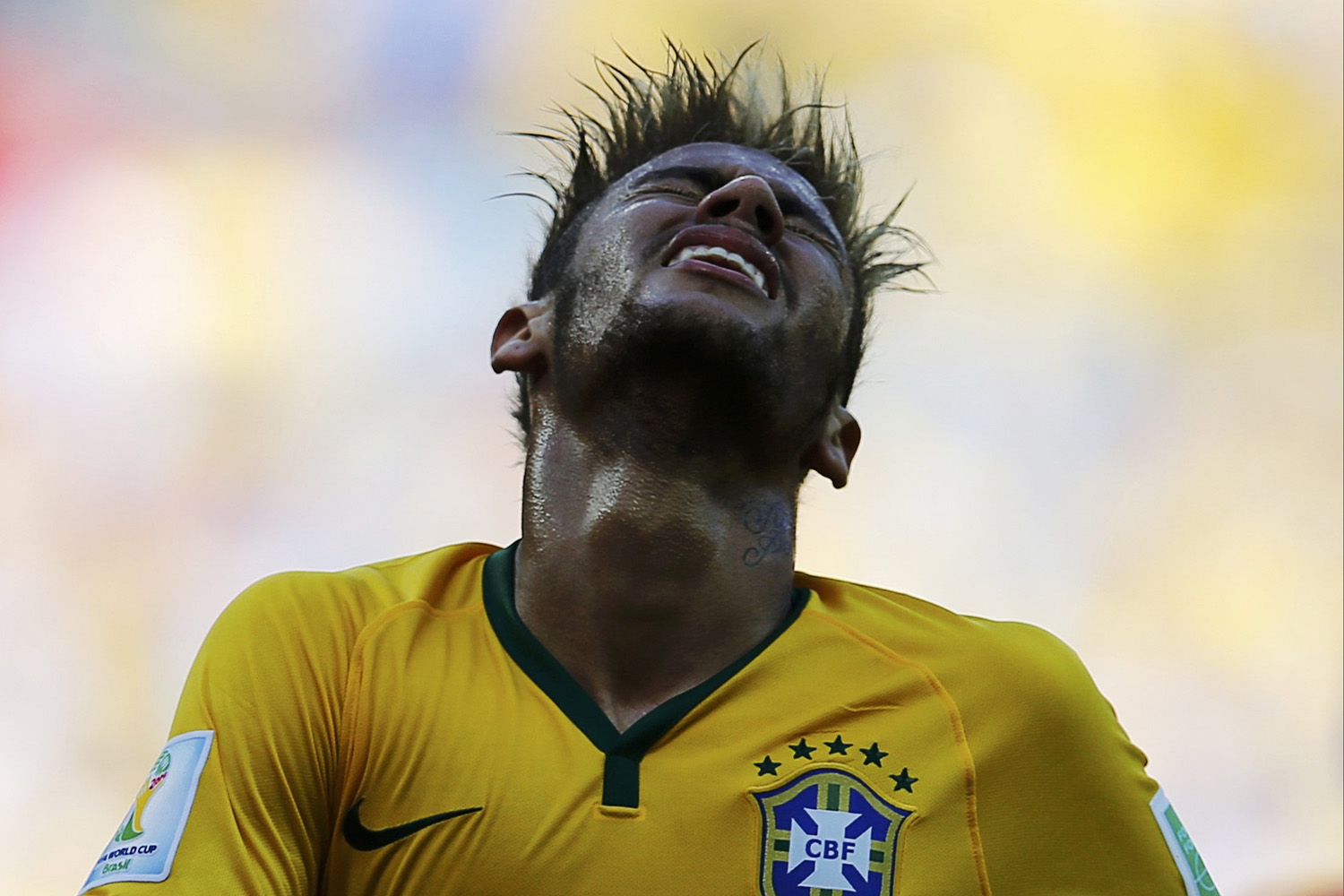 Jun. 28, 2014. Brazil's Neymar reacts during their 2014 World Cup round of 16 game against Chile at the Mineirao stadium in Belo Horizonte.