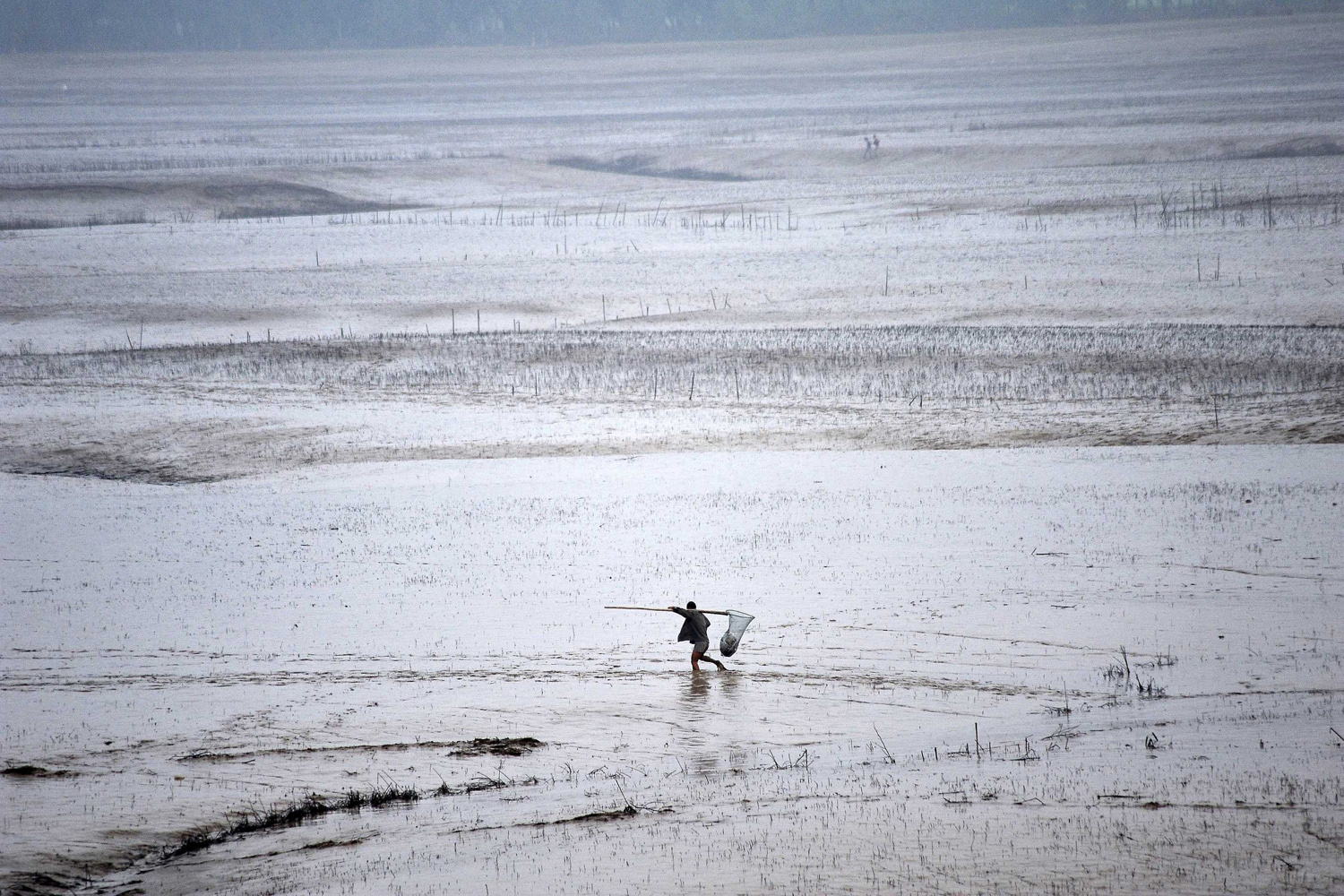 Jul. 6, 2014. A man walks along the bank of the Yellow River to fish as the Sammenxia Dam discharges flood waters downstream, in Pinglu, Shanxi province.