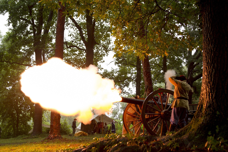 Jul. 19, 2014. Civil War re-enactors fire a cannon every hour to commemorate the 150th anniversary of the Battle of Atlanta, in Atlanta, Georgia.