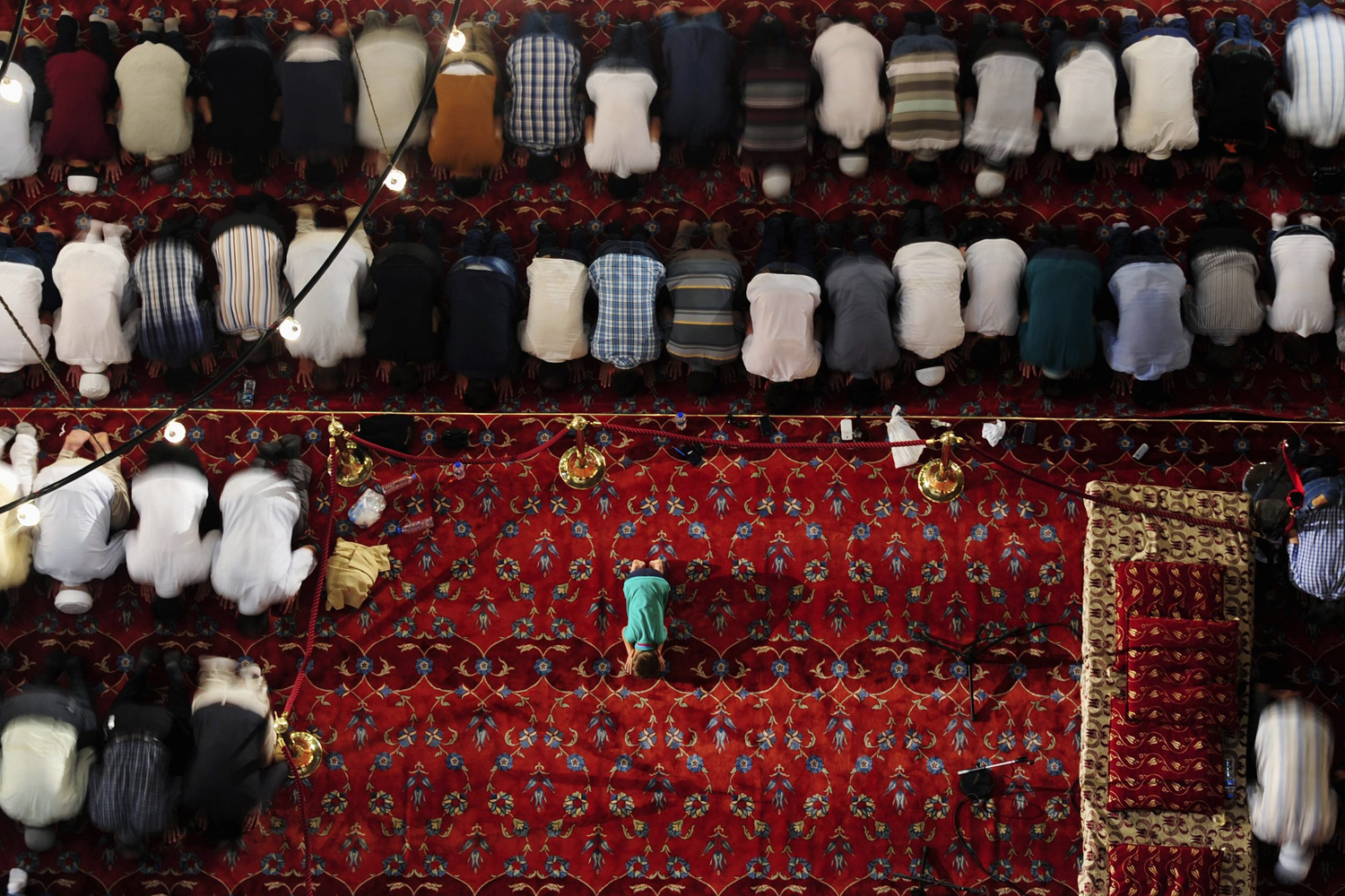 Jul. 23, 2014. Turkish faithful pray in Ottoman-era Sultanahmet mosque, known as Blue mosque, on  Laylat Al Qadr  during the holy month of Ramadan, in Istanbul.