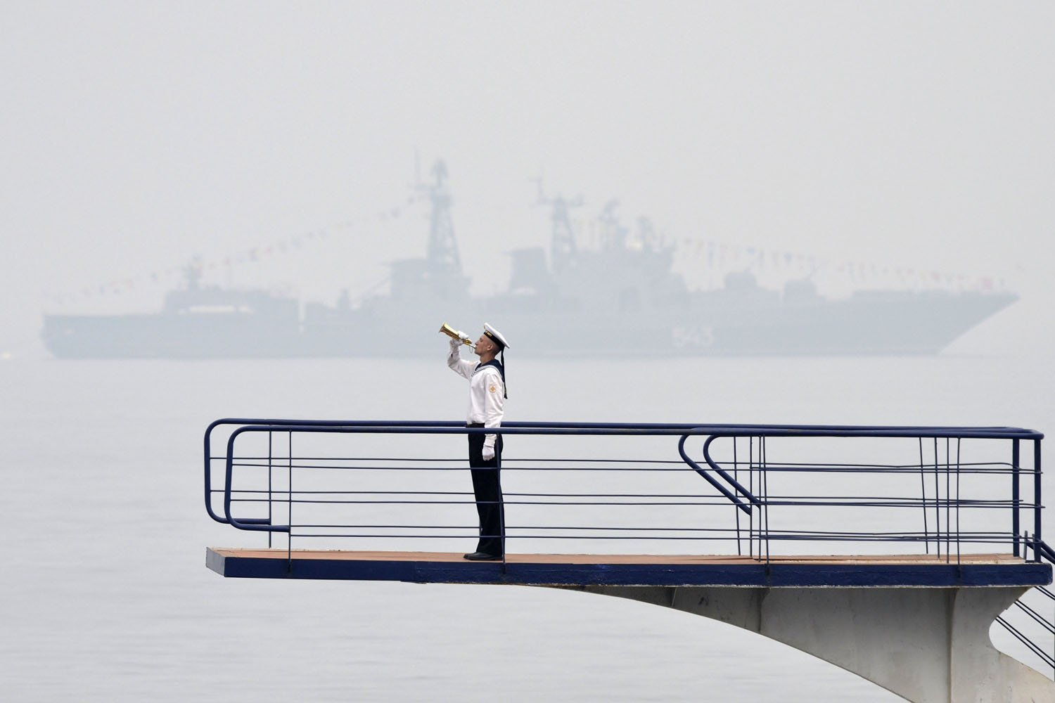 Jul. 25, 2014. A Russian sailor takes part in a naval parade rehearsal in the far eastern port of Vladivostok, Russia.