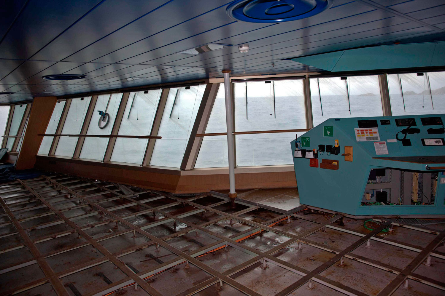 A detail in the interior of Costa Concordia cruise ship wreck off coast Giglio island, Italy on 21 July 2014. All floors of the ship were cleaned to prevent toxic chemicals from spilling into the water.