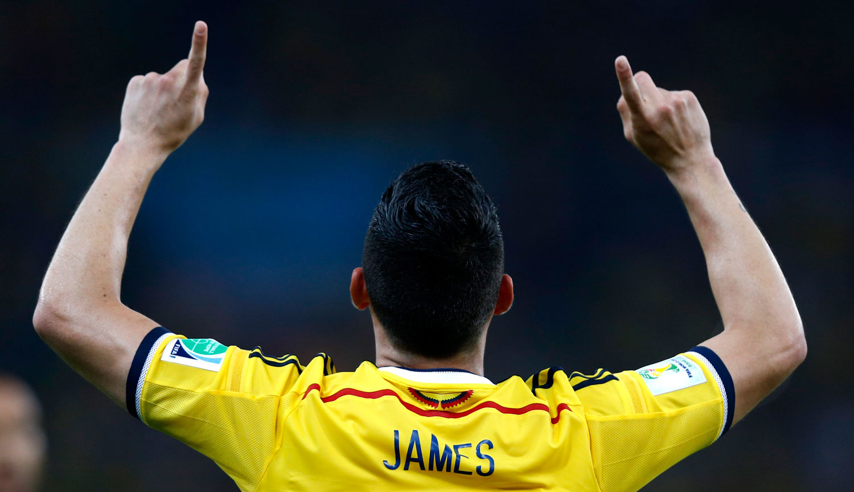 Columbia vs. Uruguay 2-0                                                              Colombia's James Rodriguez celebrates his first goa at the Estadio de Maracana Stadium in Rio de Janeiro on June 28, 2014.