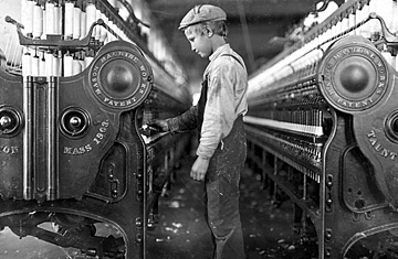 A boy works in a mill in Lincolnton, N.C., in 1908