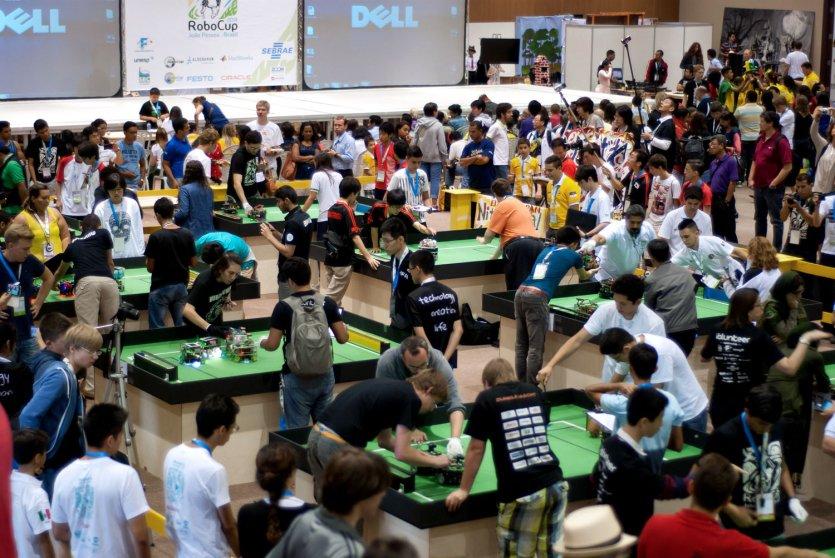 Robocup Junior teams in RoboCup Robot Soccer Championship on July 21, 2014.