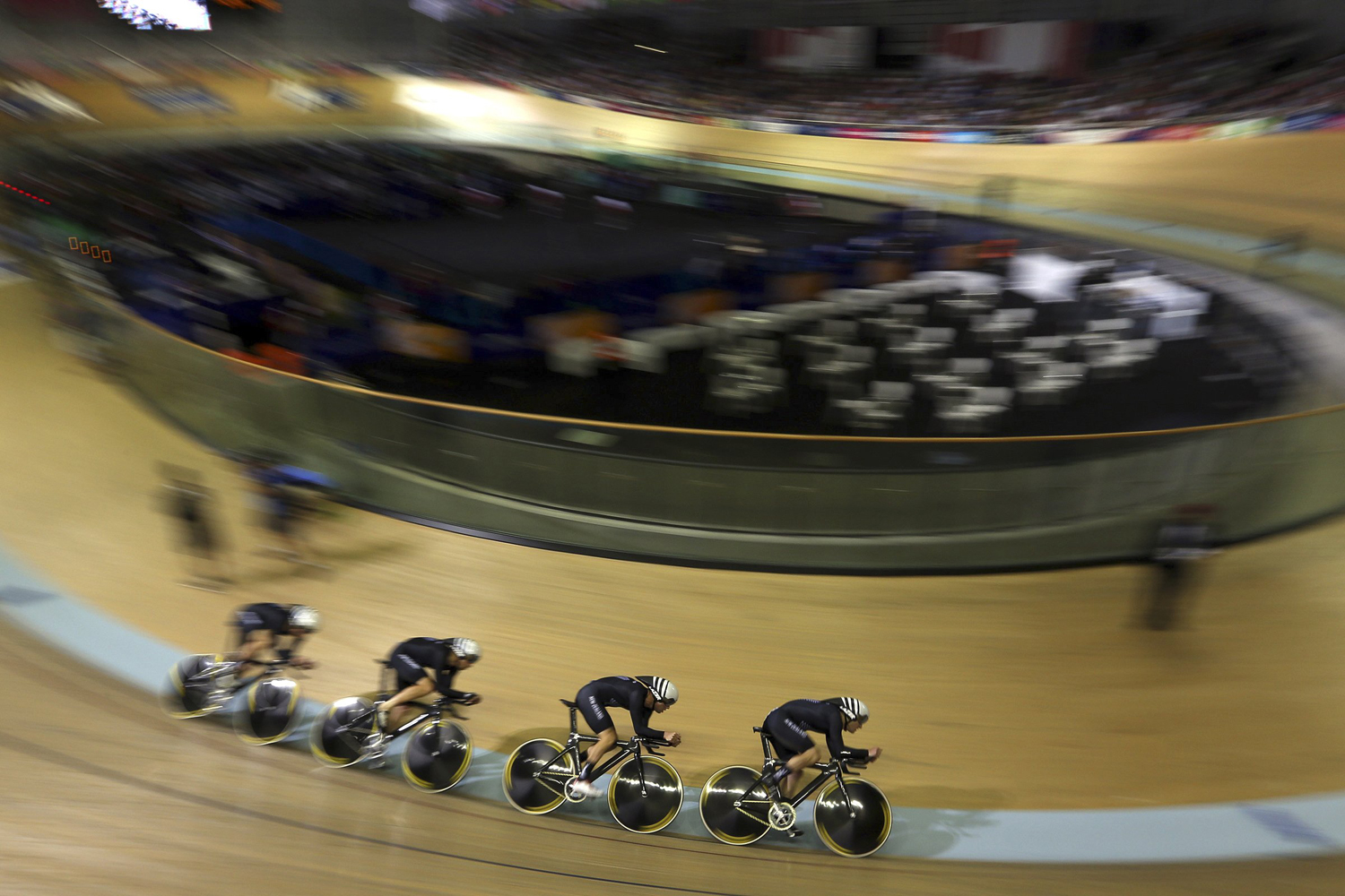 Jul. 24, 2014. Members of the New Zealnad team compete during the Men's team pursuit 4000m qualifying at the Velodrome in Glasgow, Scotland.